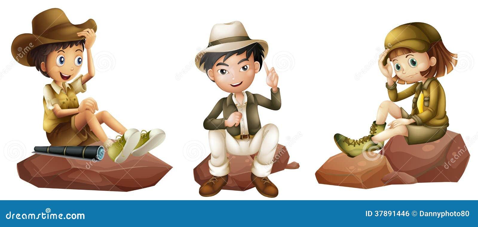 三位年轻探险家图片