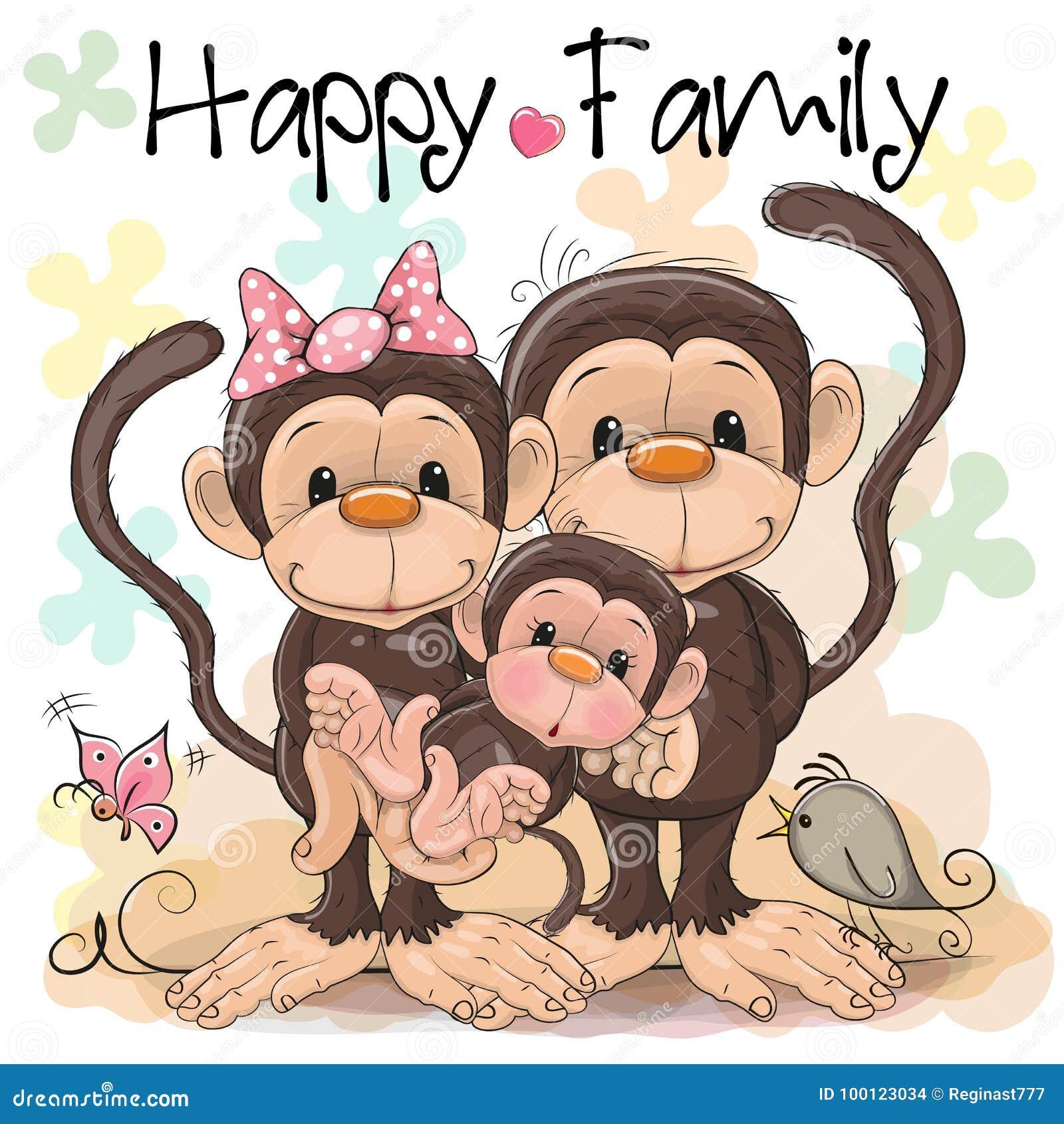 三口之家逗人喜爱的猴子