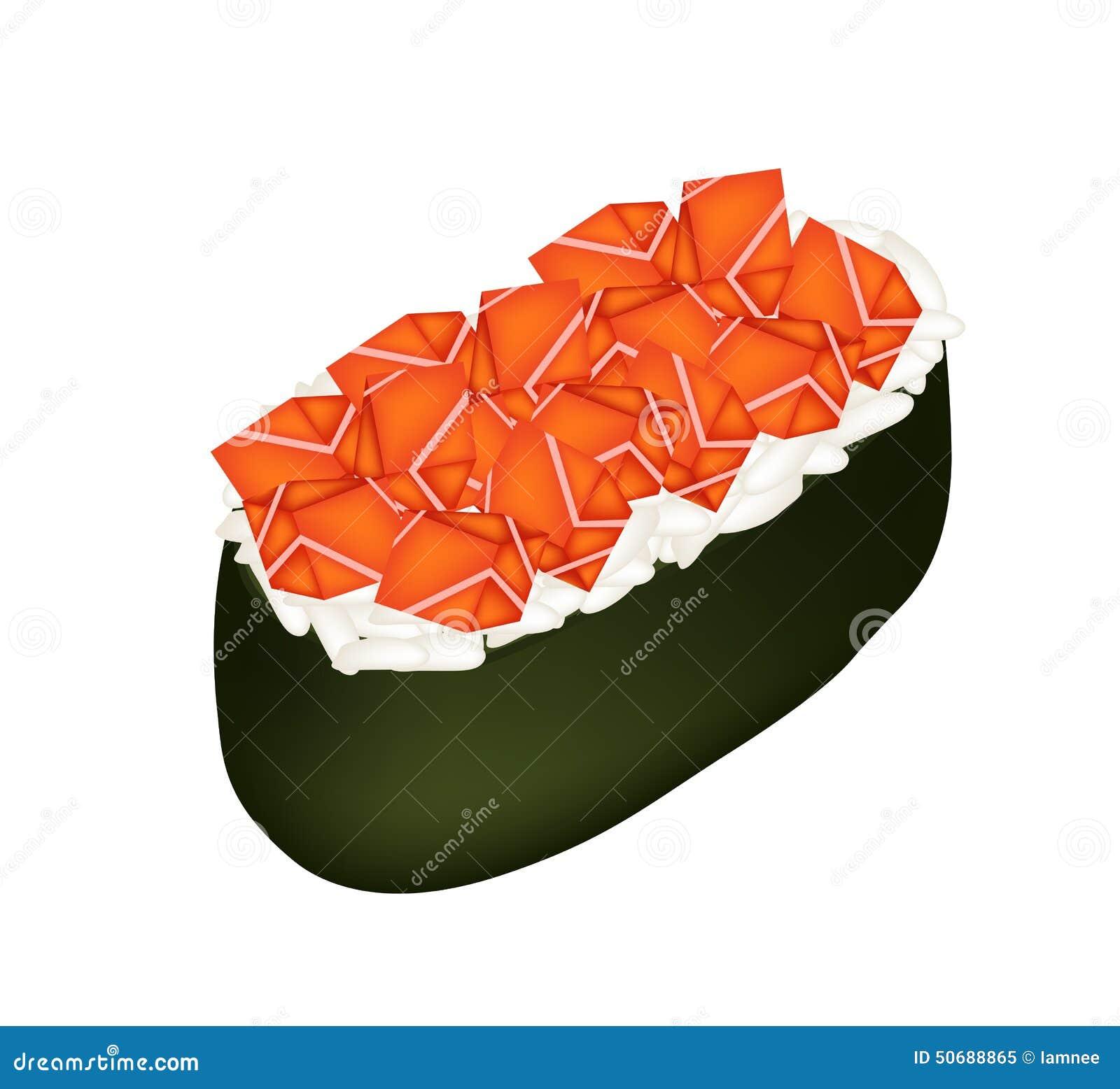 Download 三文鱼寿司或三文鱼在白色隔绝的Nigiri 向量例证. 插画 包括有 夹子, 原始, 饮料, 艺术, 海鲜 - 50688865