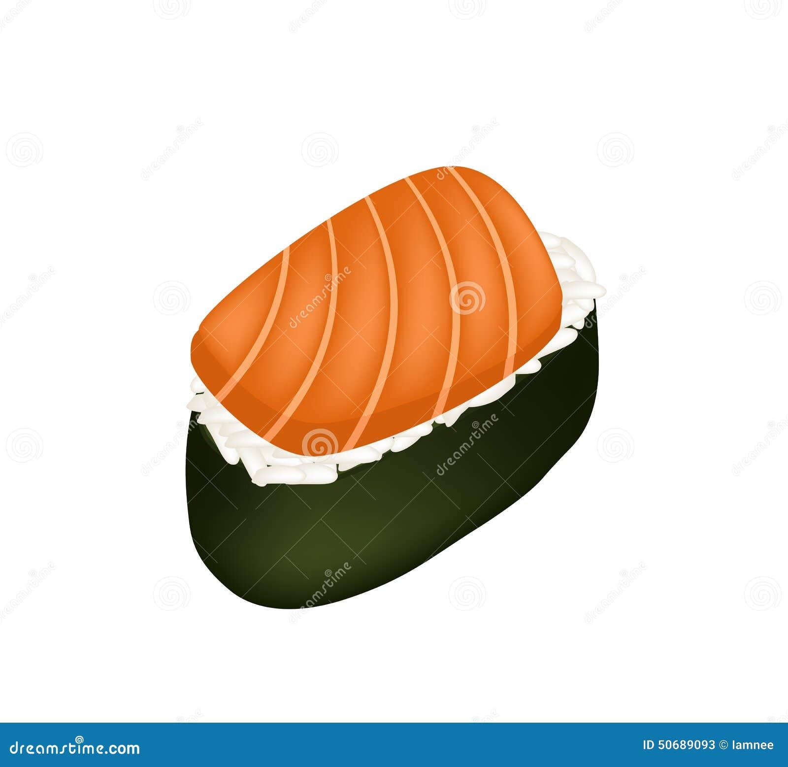 Download 三文鱼寿司或三文鱼在白色隔绝的Nigiri 向量例证. 插画 包括有 类似, 营养素, 夹子, 烹饪, 橙色 - 50689093