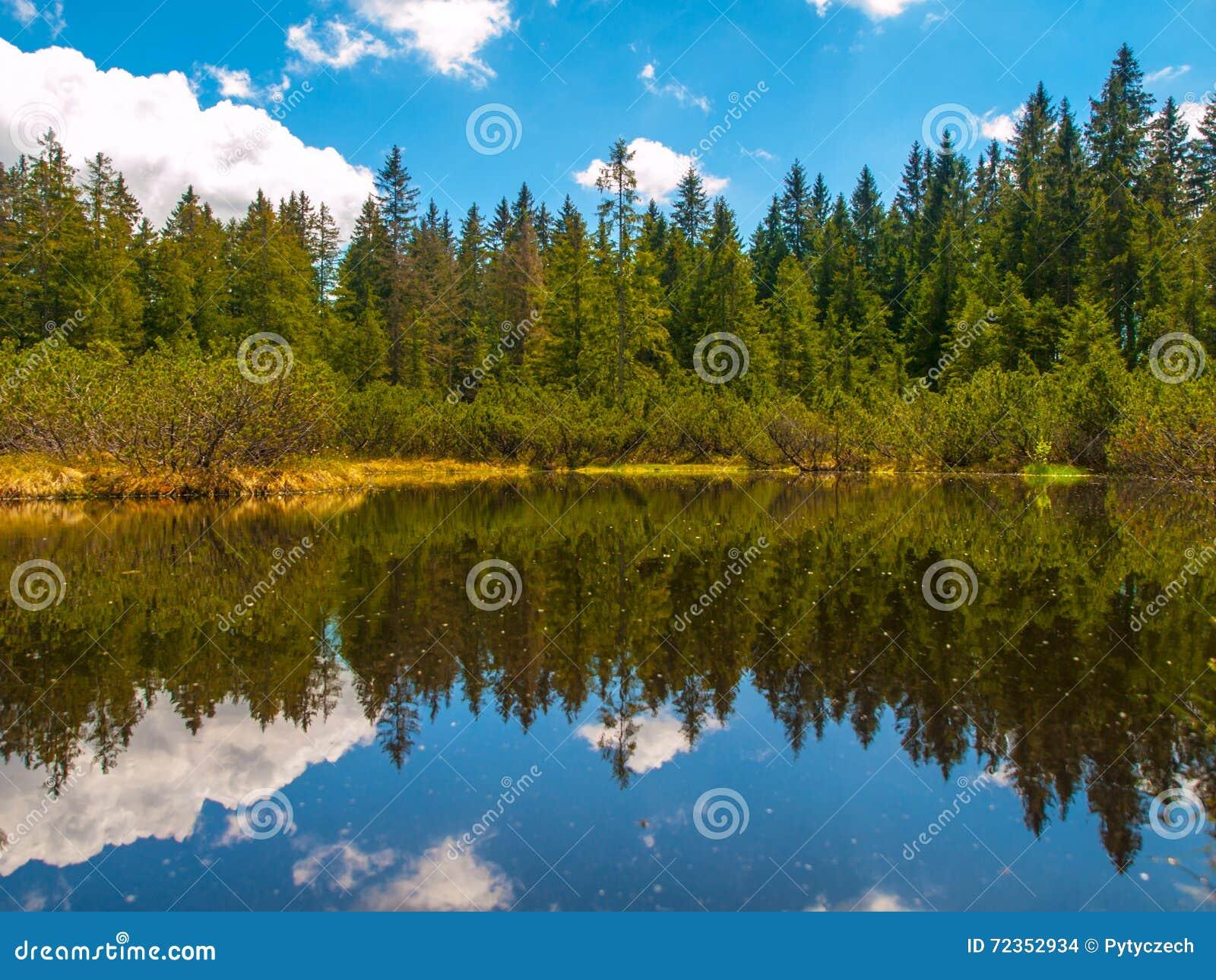 三湖在Sumava国家公园停泊
