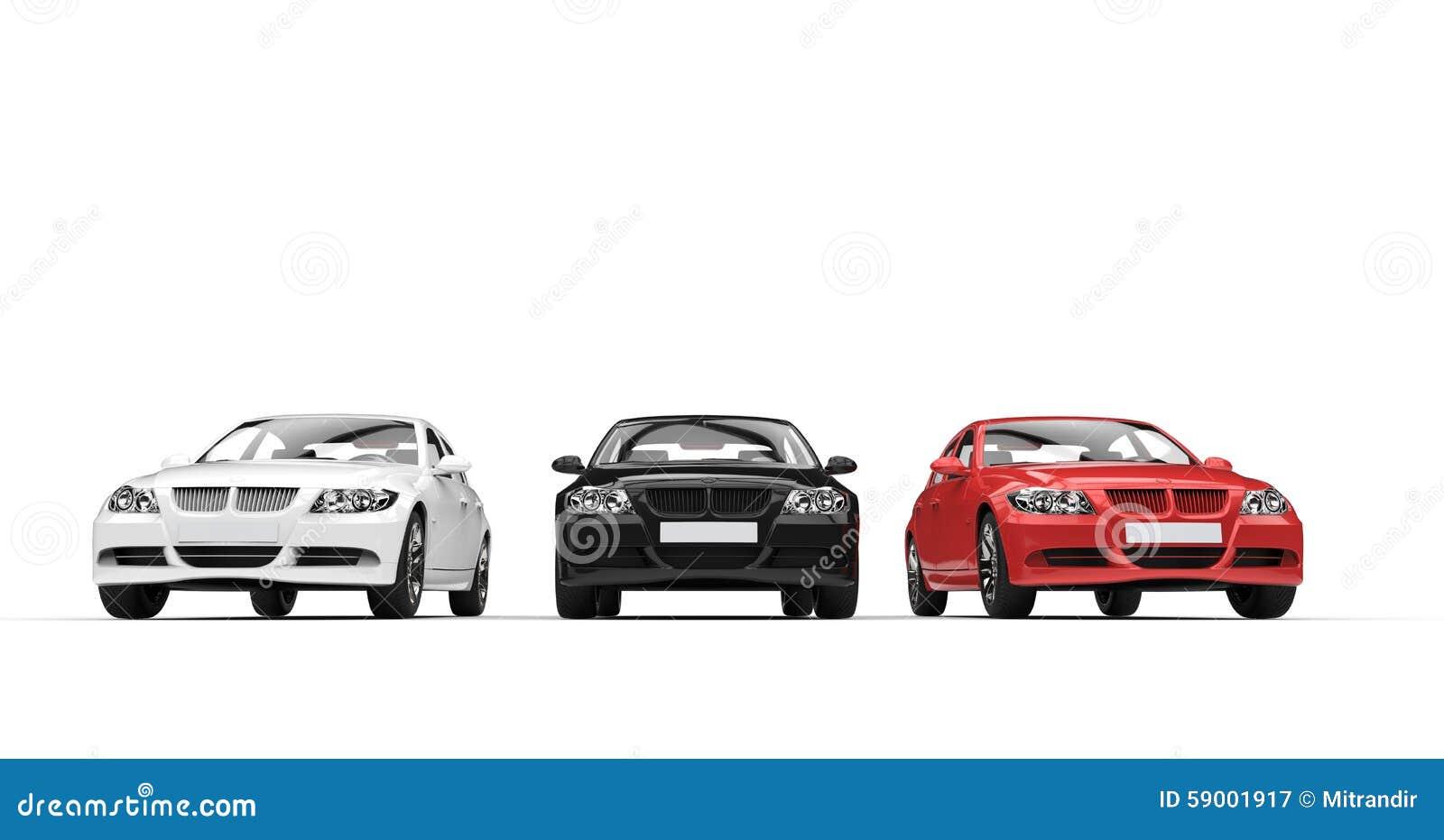 三辆汽车正面图