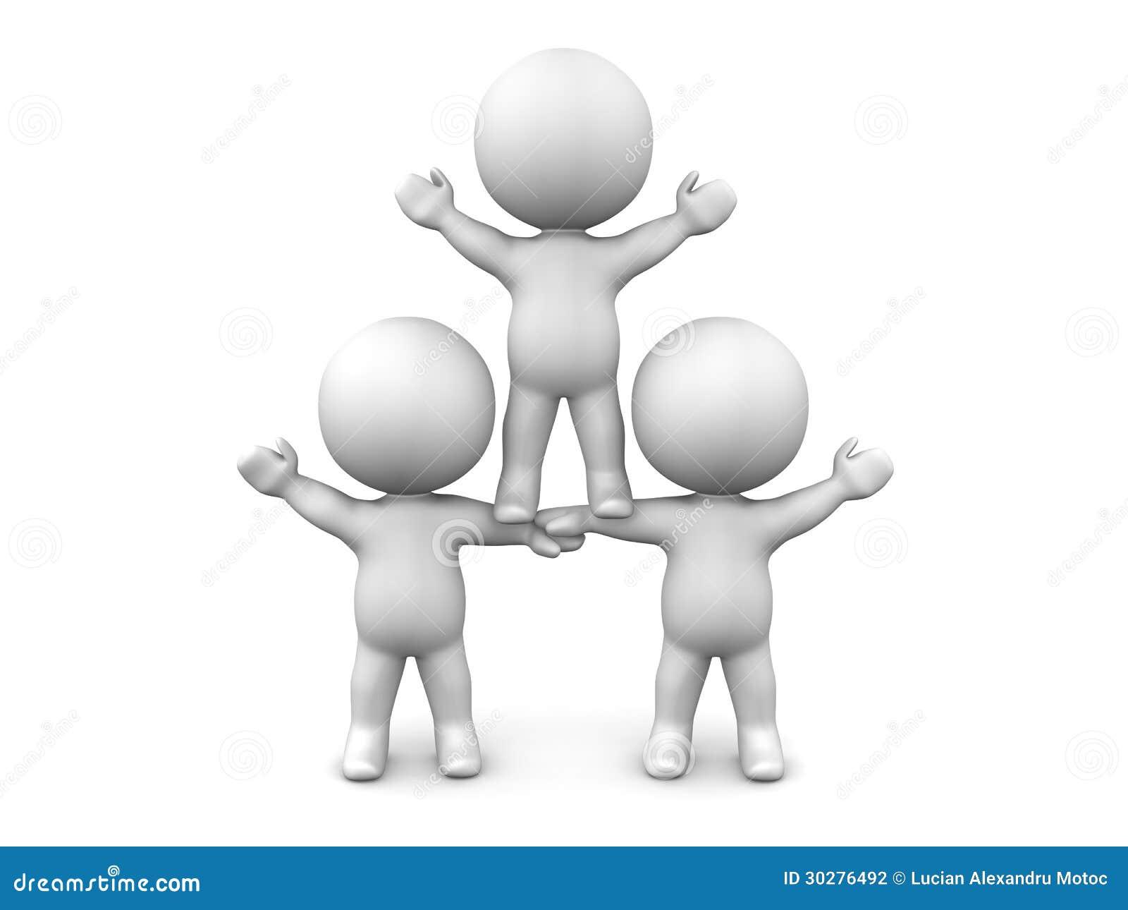 三个3D人配合概念队