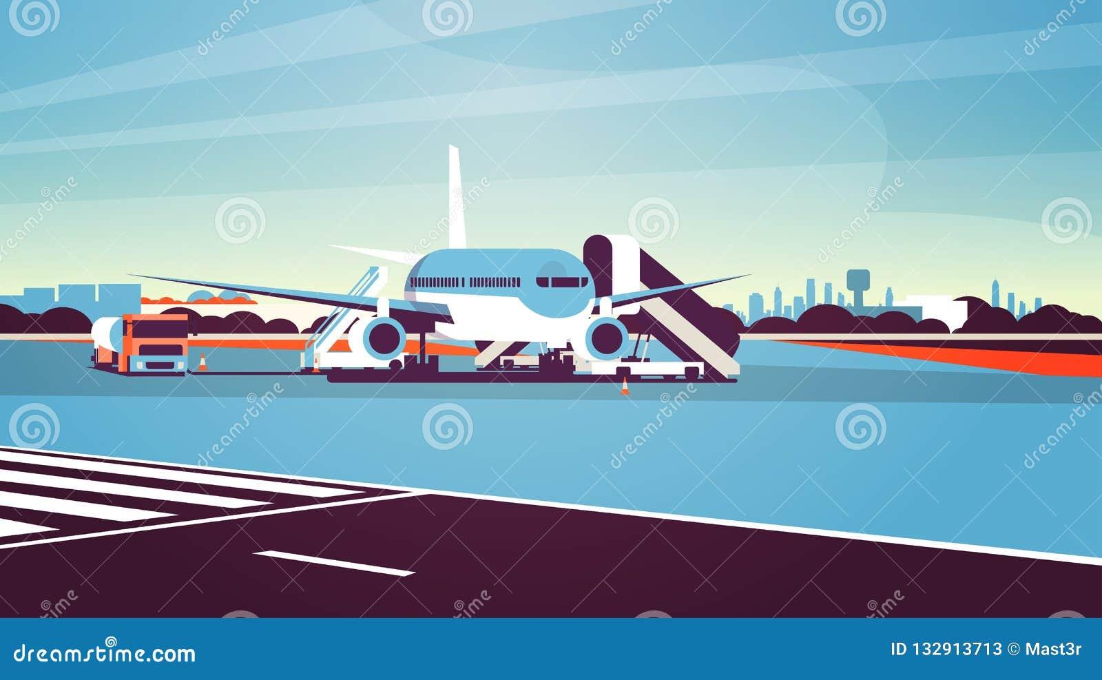 上乘客都市风景背景的机场终端航空器飞行平面离开等待平展水平