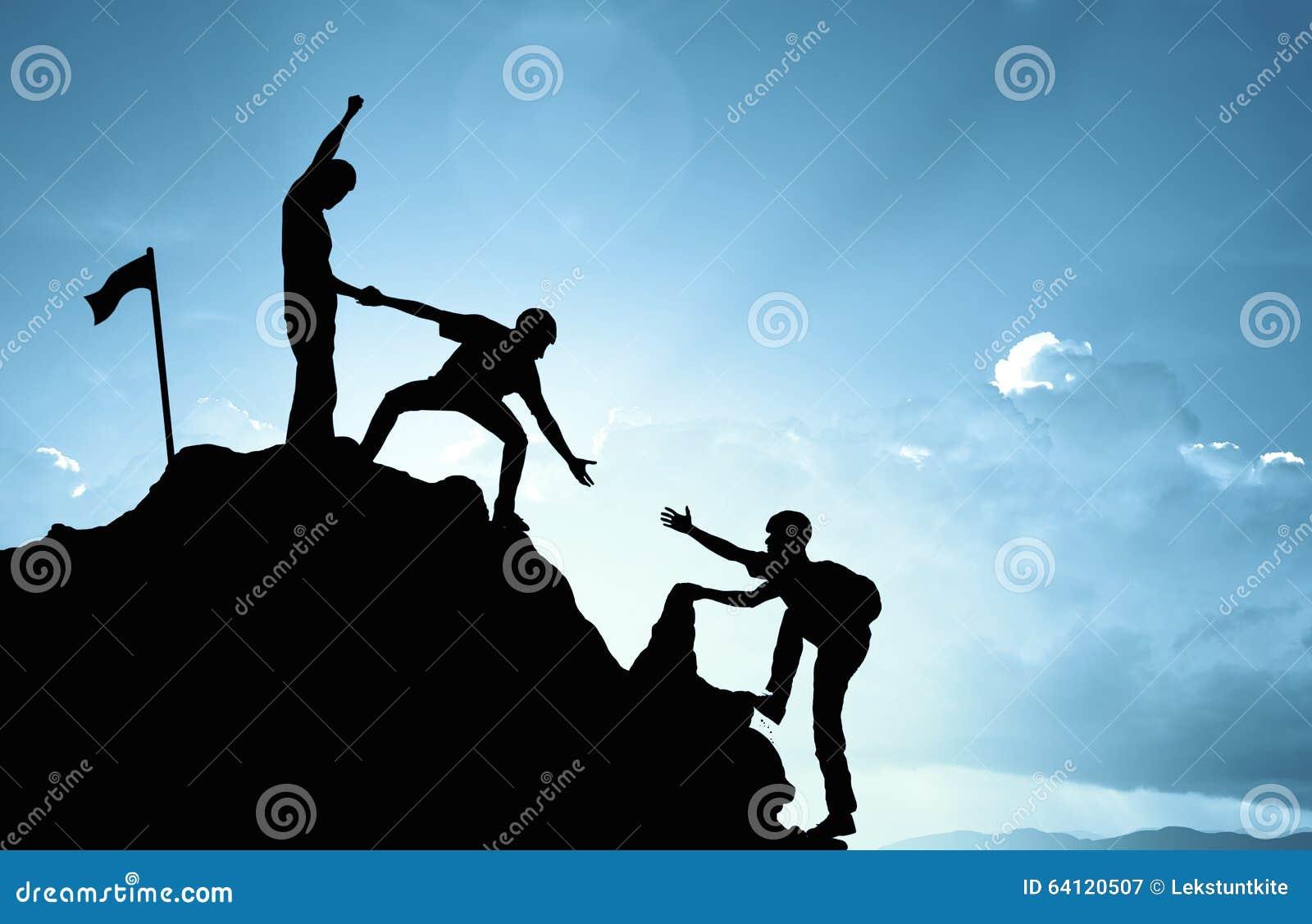 上升的帮助的队工作,成功概念