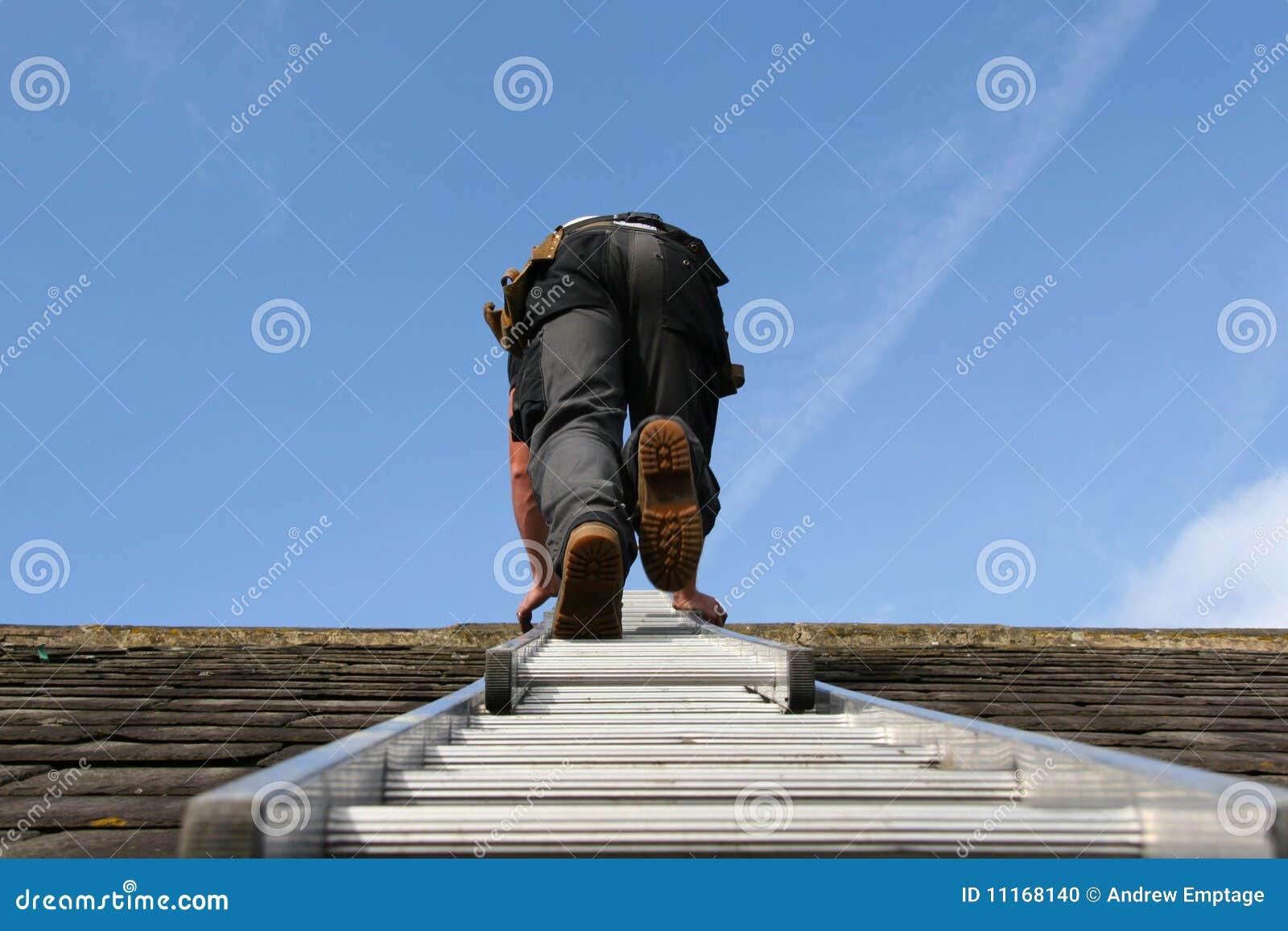 上升的梯子屋面防水工