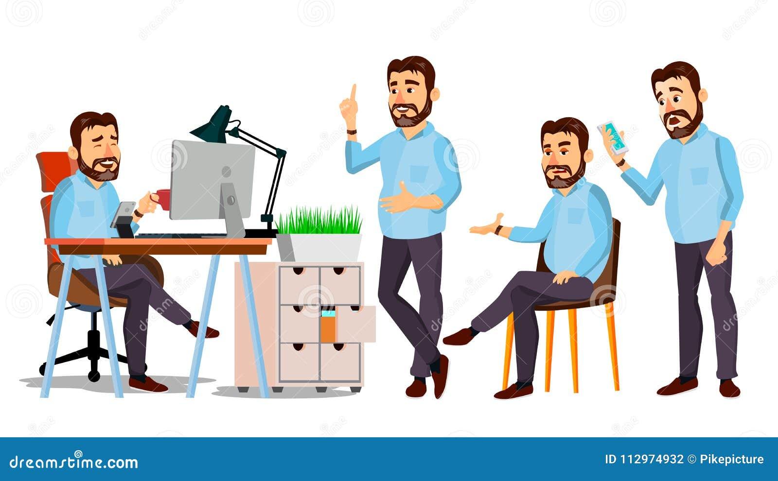 上司字符传染媒介 IT Startup Business Company 设计的身体模板 各种各样的姿势,情况 动画片