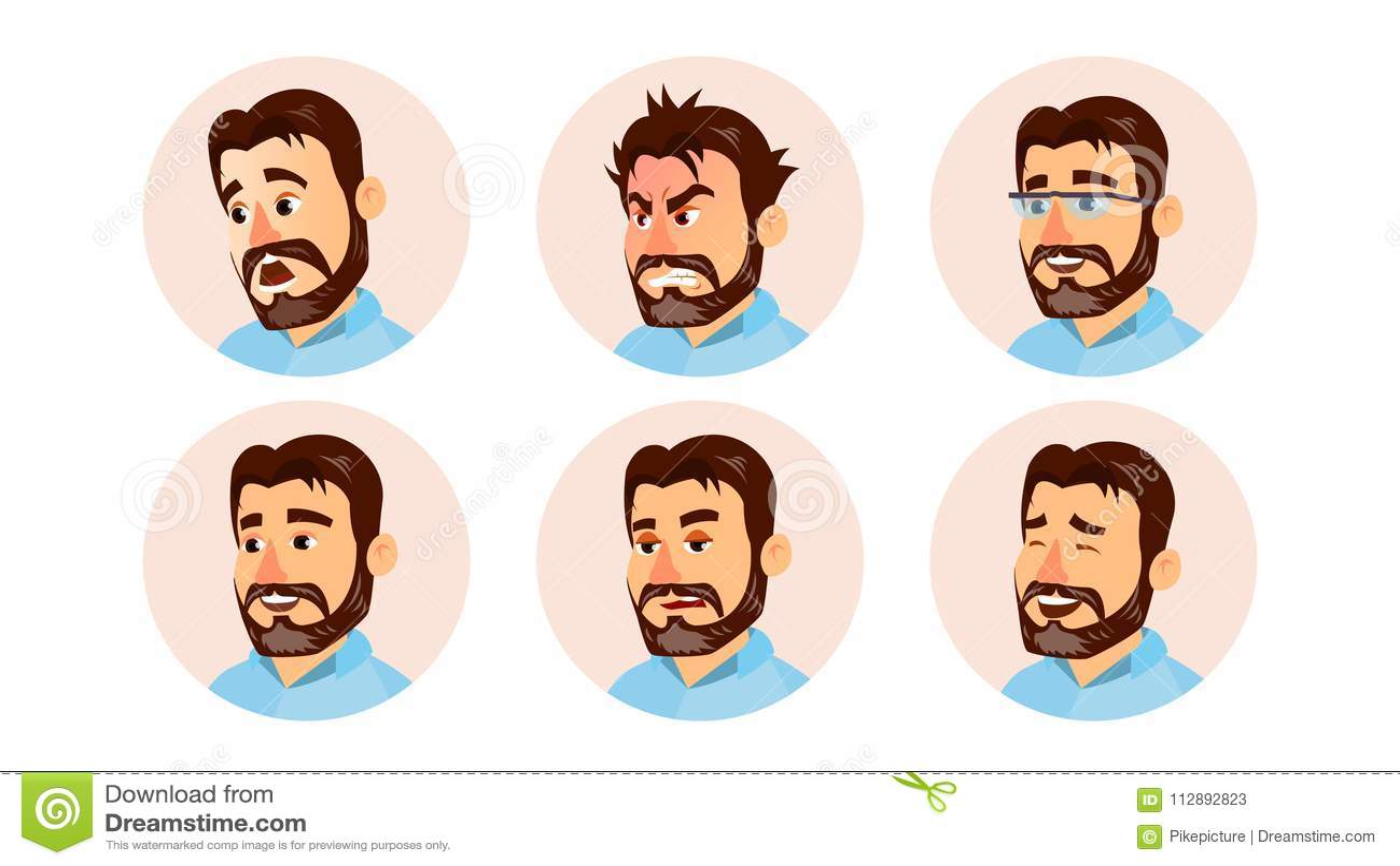上司字符商人具体化传染媒介 现代办公室有胡子的上司人面孔,被设置的情感 创造性的具体化