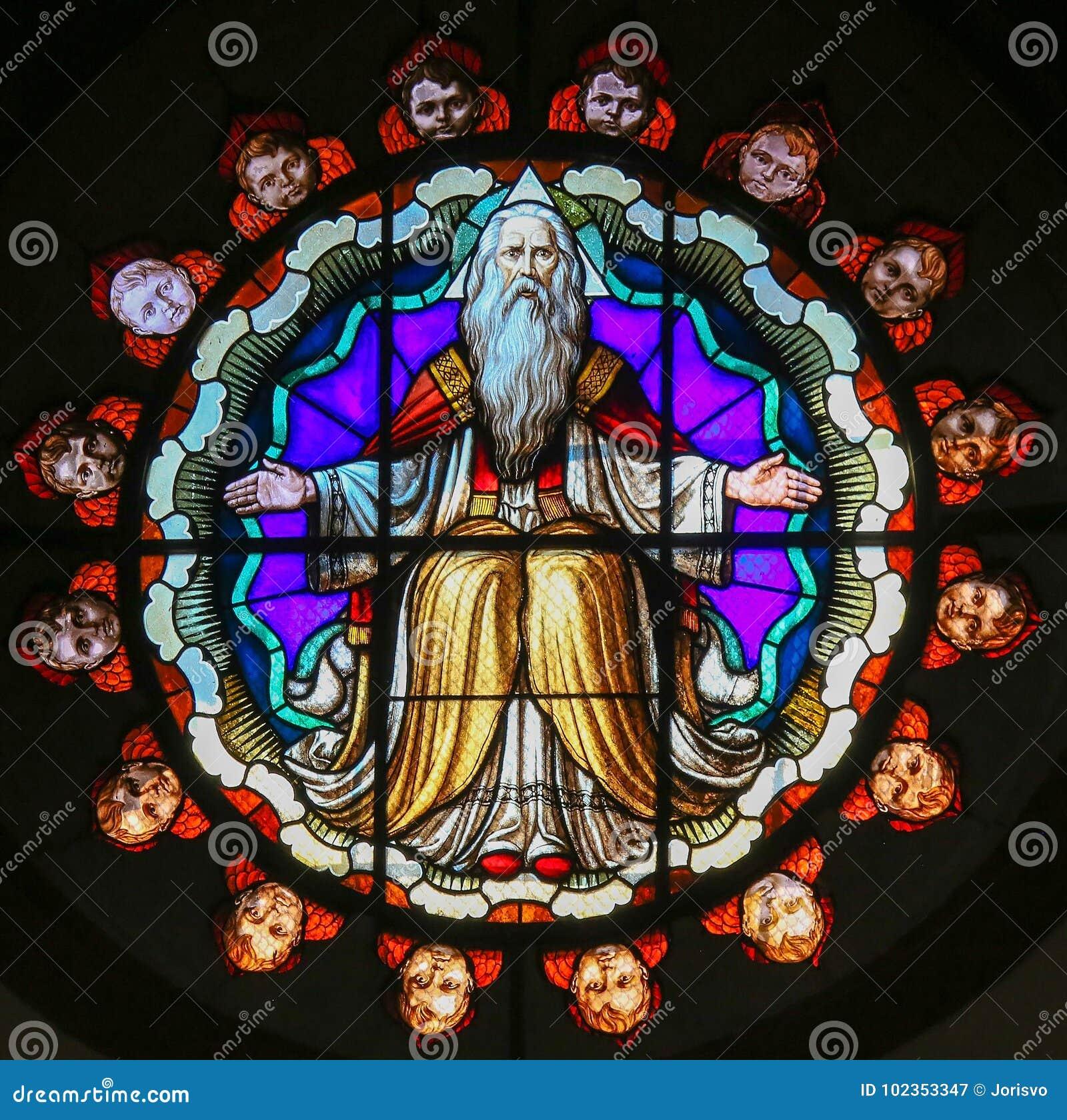 上帝-圣Petronio,波隆纳大教堂彩色玻璃