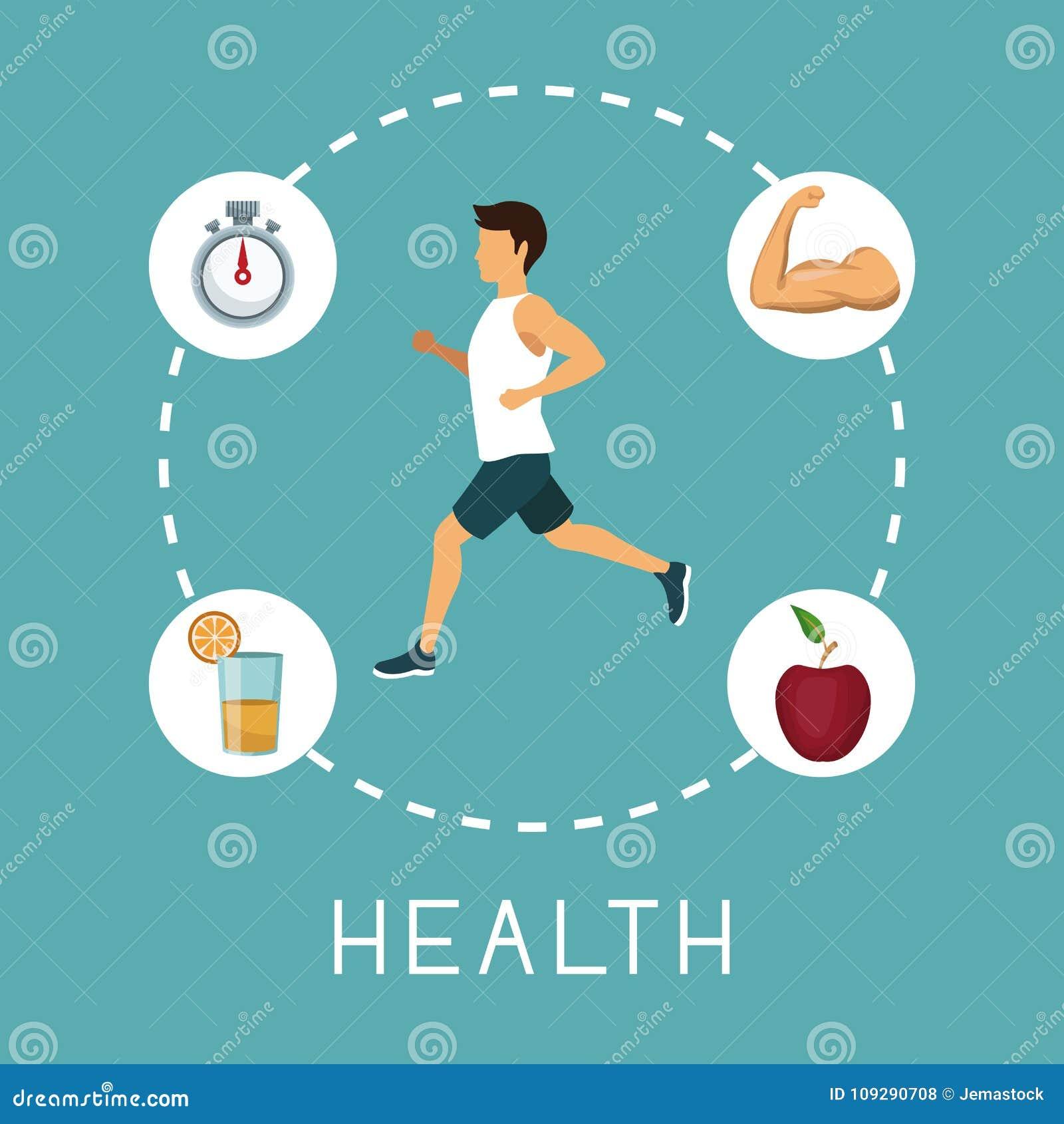 上色与跑在与计时表橙汁肌肉胳膊和苹果果子的中心的体育人的背景在文本附近