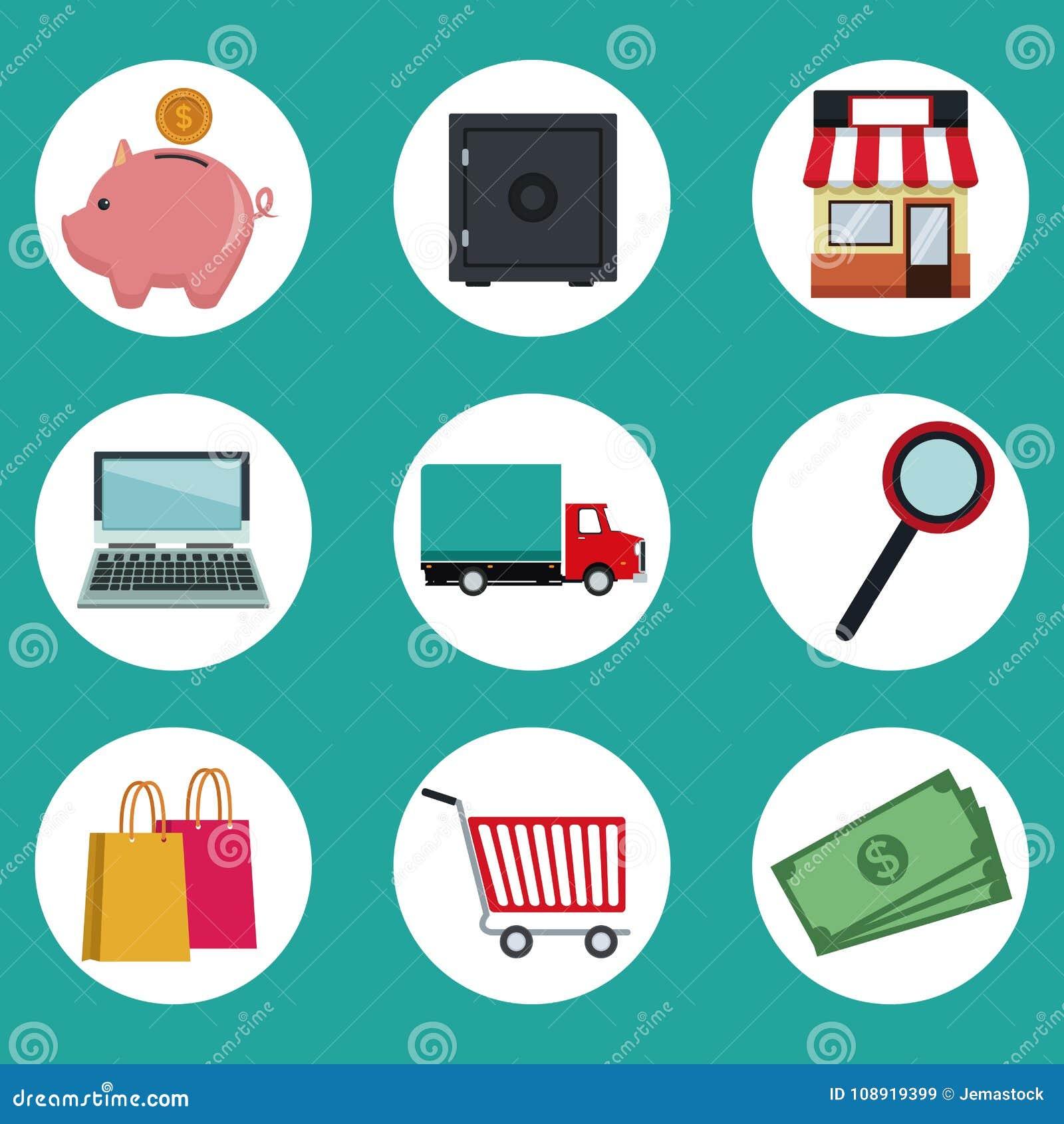 上色网上购物的圆框架象元素背景