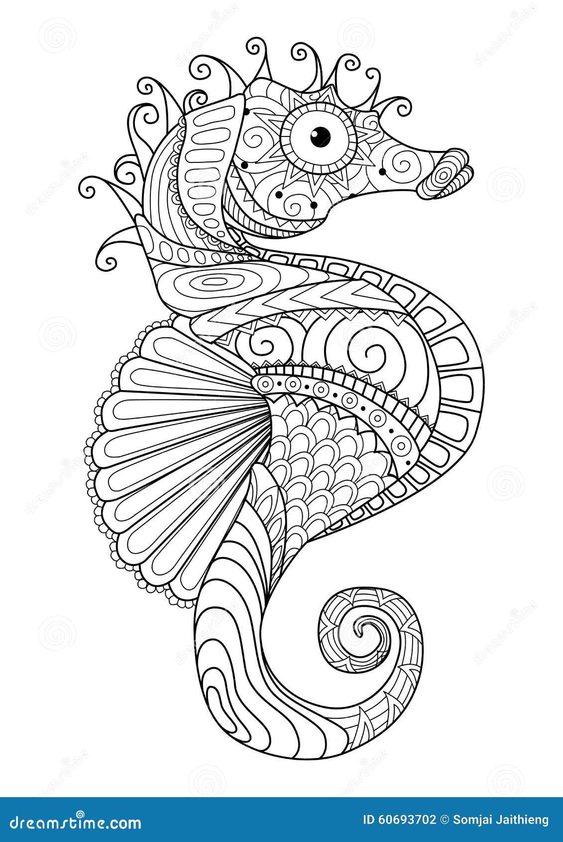 上色页的手拉的海马zentangle样式, T恤杉设计作用,商标刺字等等