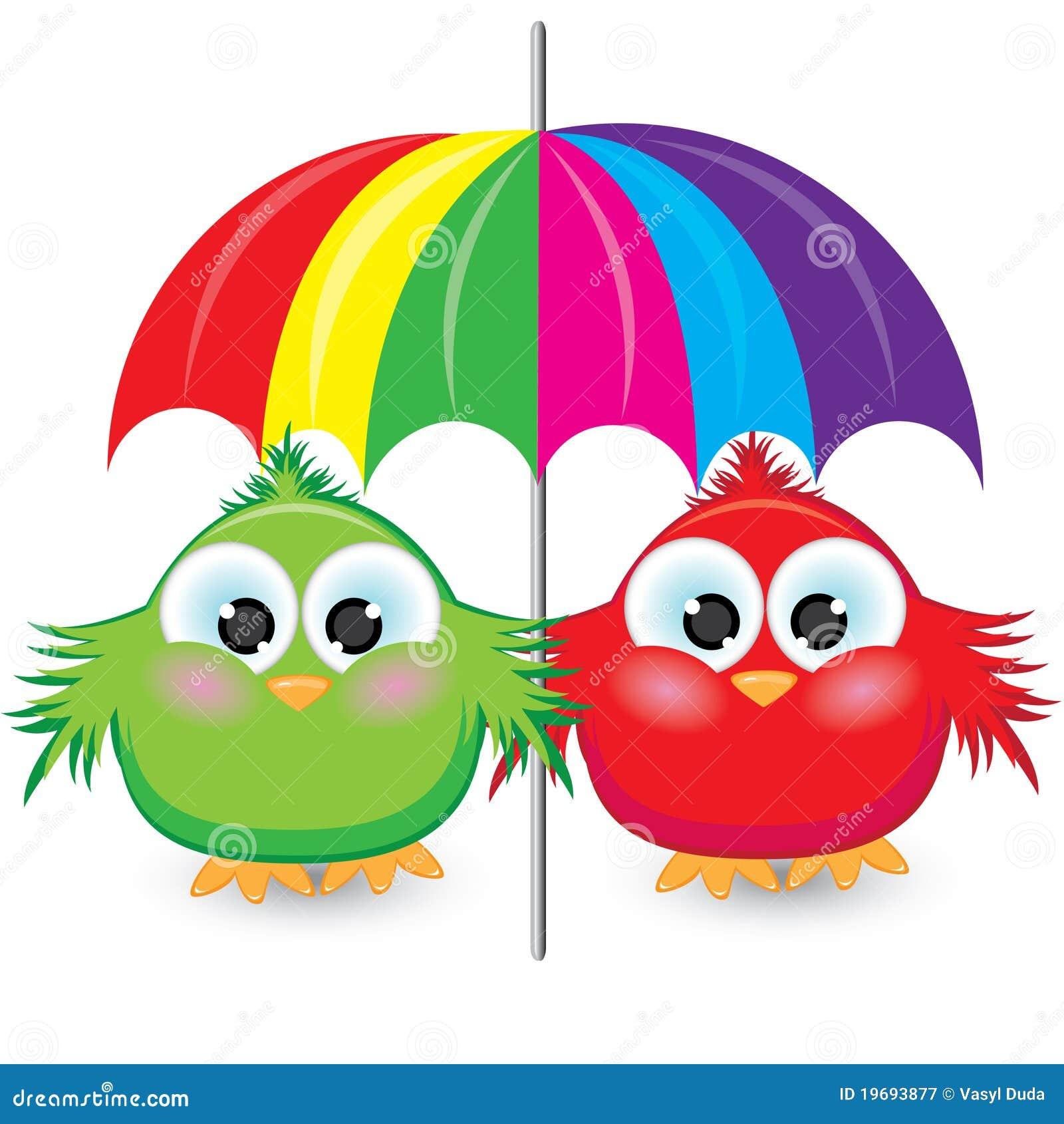 在白色之下的背景动画片五颜六色的例证麻雀二伞.图片
