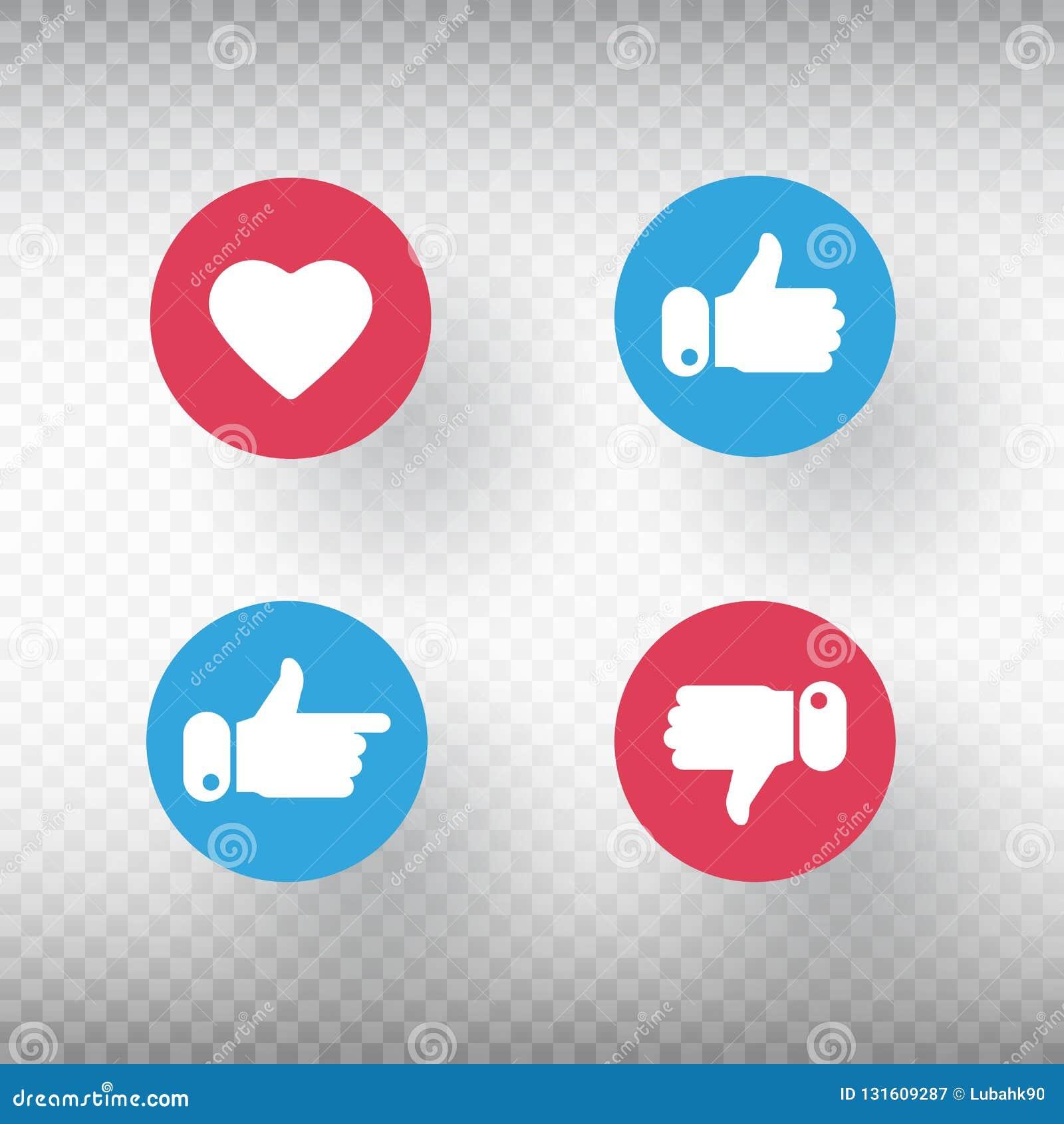 下来赞许和拇指,心脏标志集合 象符号 社会媒介元素 有用户反馈的明亮的按钮为