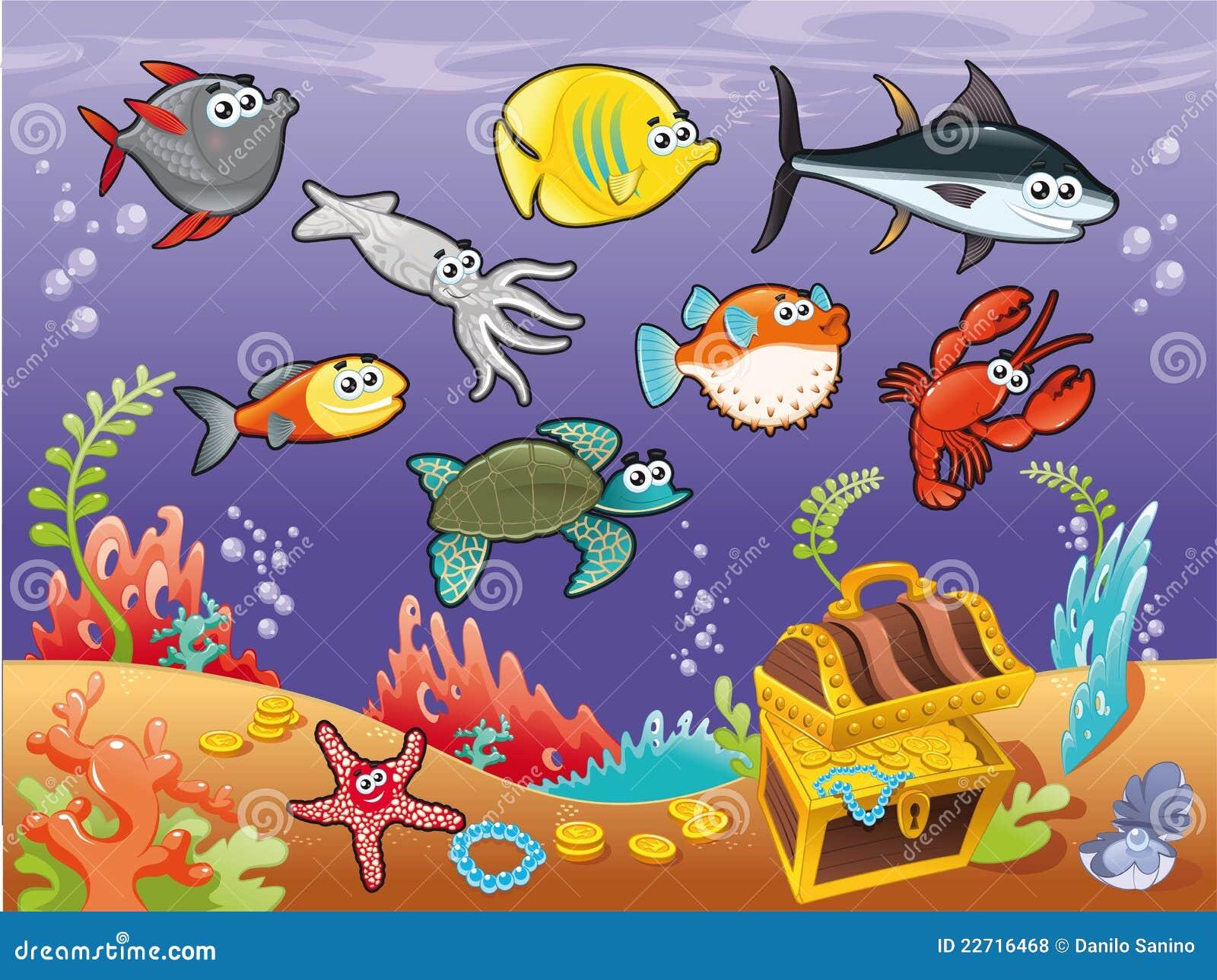 下系列鱼滑稽的海运