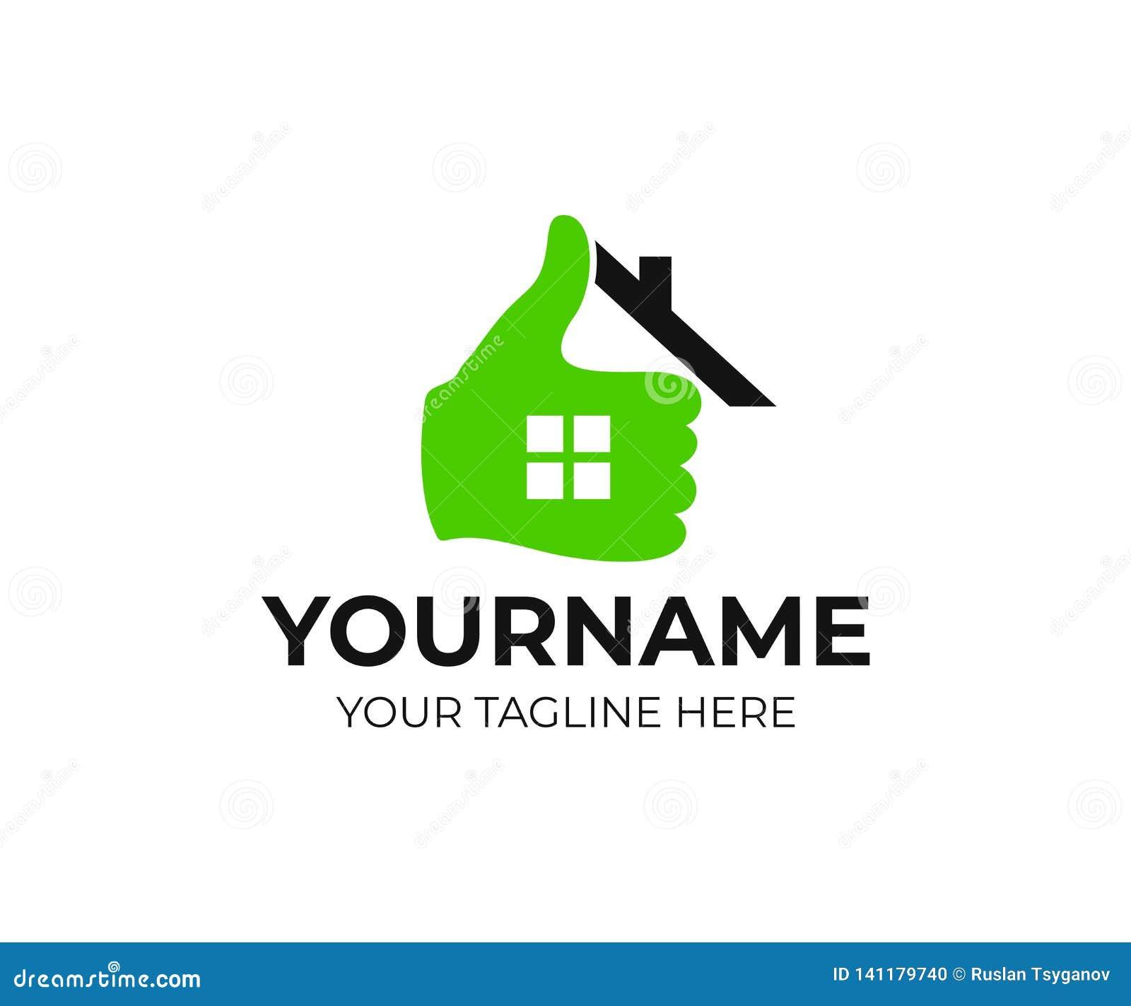 不动产、家、房子、手和赞许,商标设计 地产商、不动产和建筑,传染媒介设计