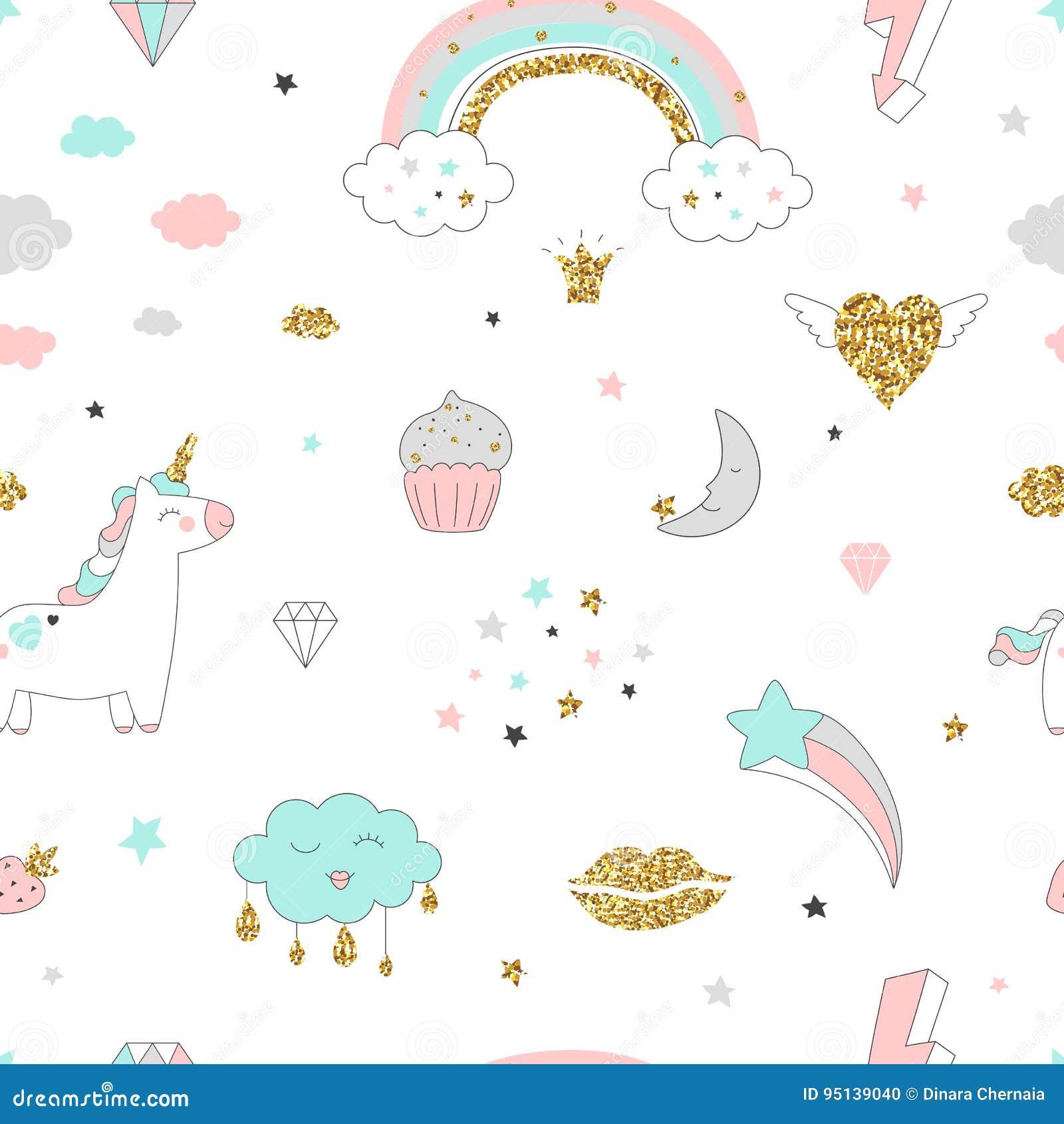 不可思议的与独角兽、彩虹、心脏,云彩和其他的设计无缝的样式元素
