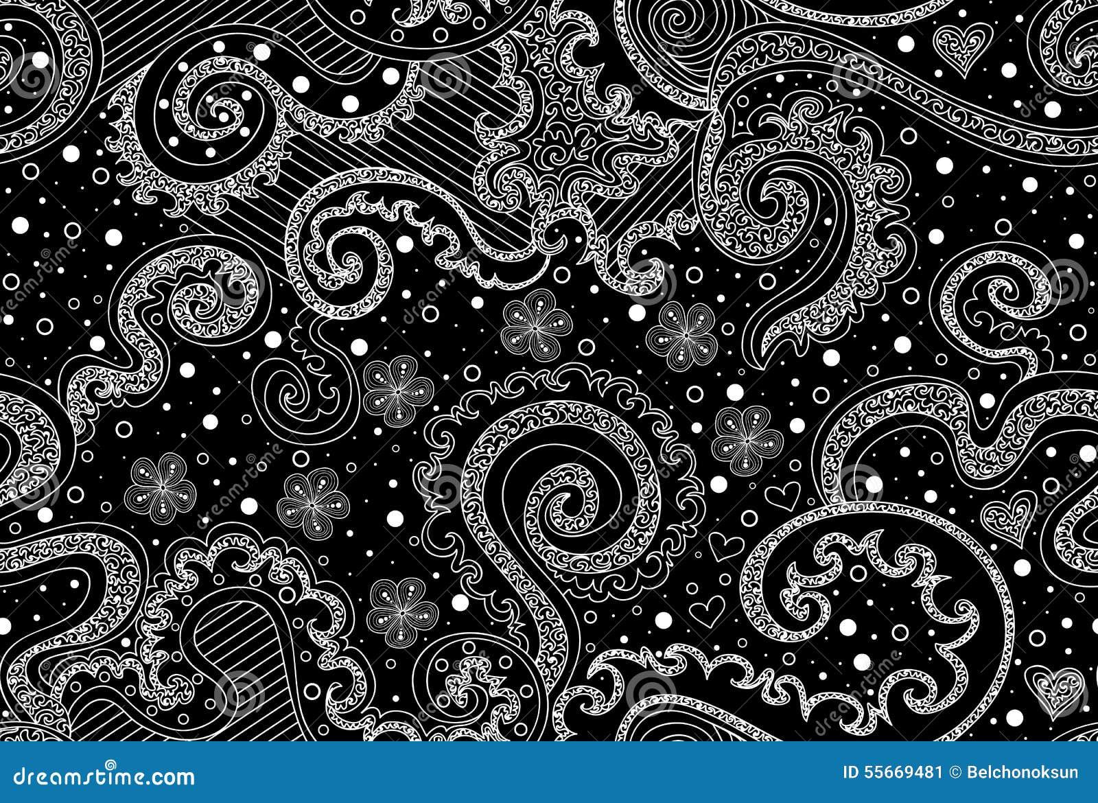 不可思议的抽象与乱画、卷曲的线、心脏和计算的花的传染媒介无缝的样式