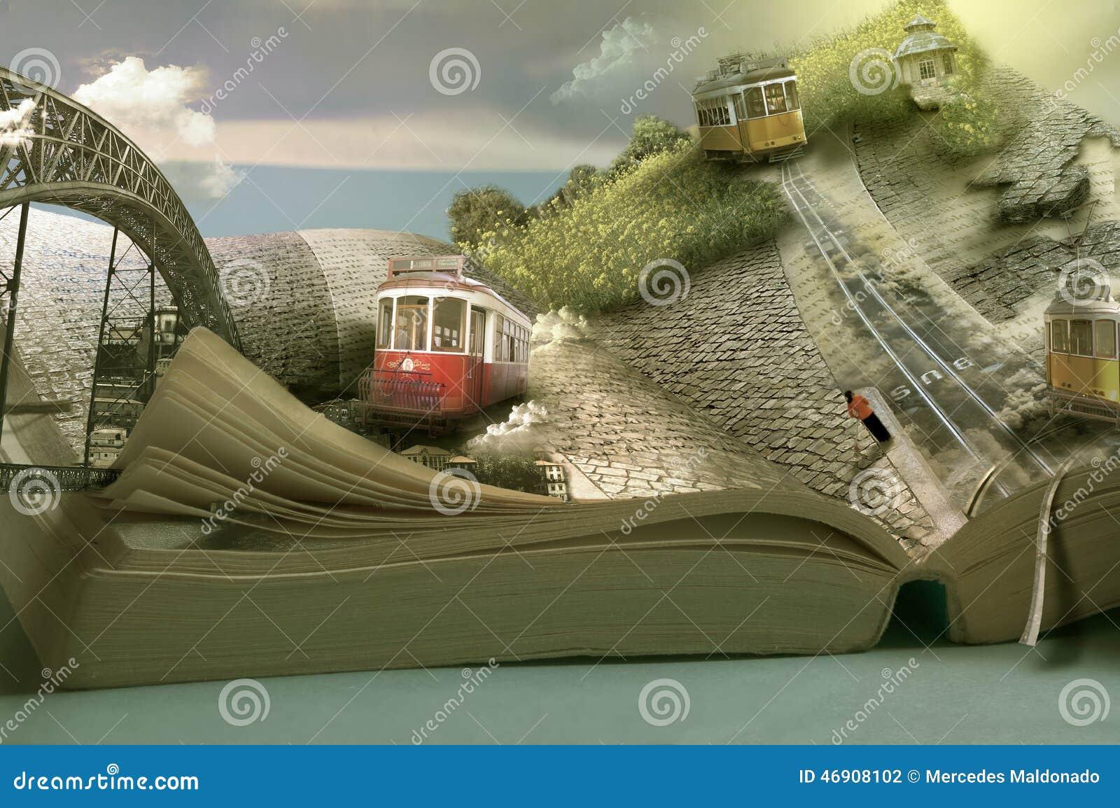 不可思议的旅行书、电车和镇 开放尺寸的页