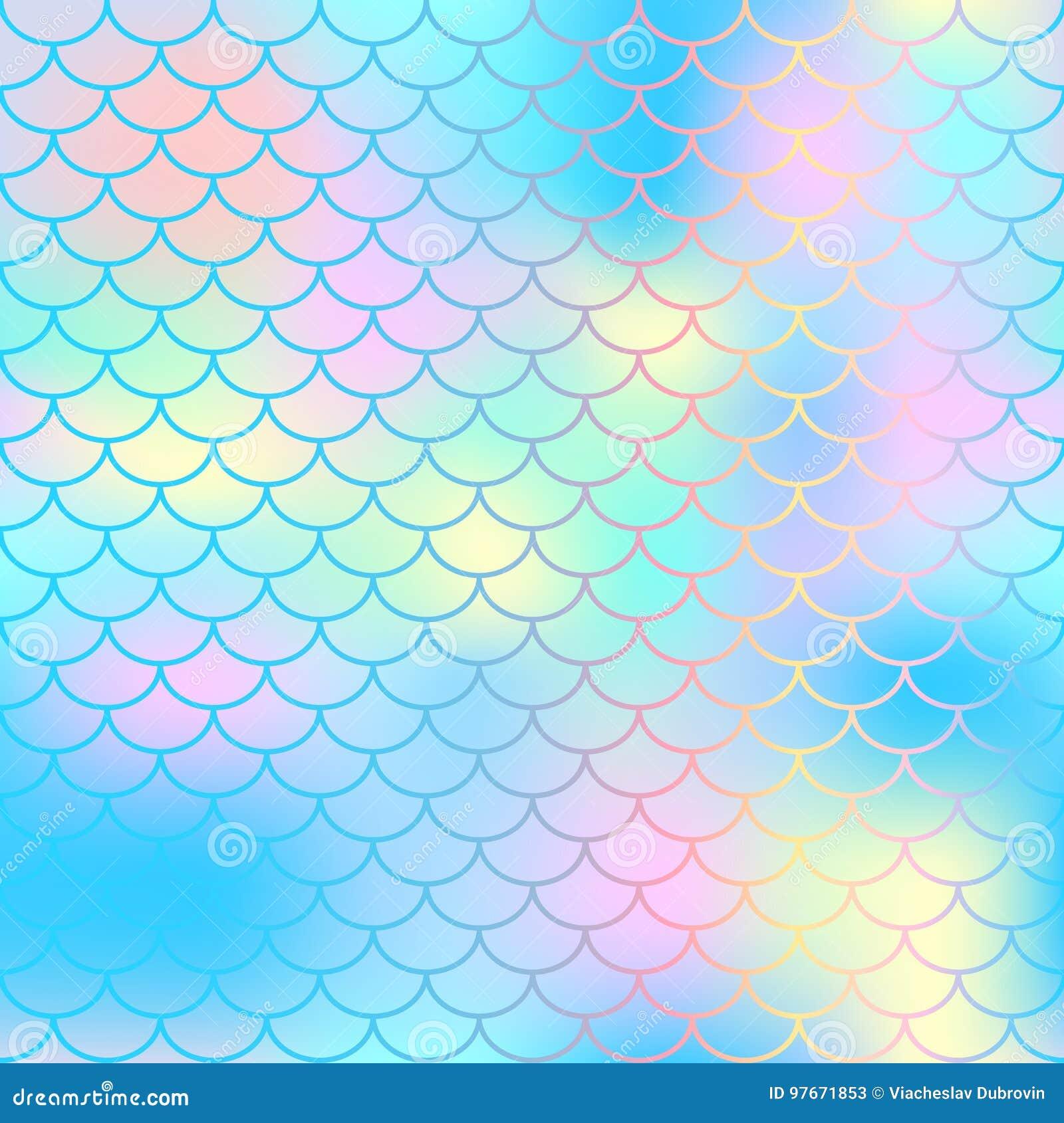 不可思议的美人鱼尾巴背景 与鱼鳞网的五颜六色的无缝的样式 蓝色桃红色美人鱼皮肤表面