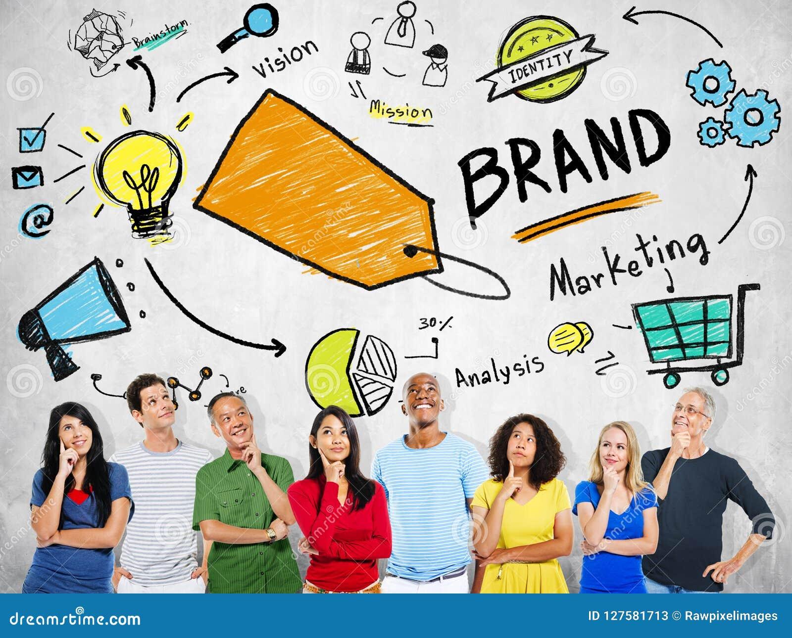 不同的人民想法的计划营销品牌概念
