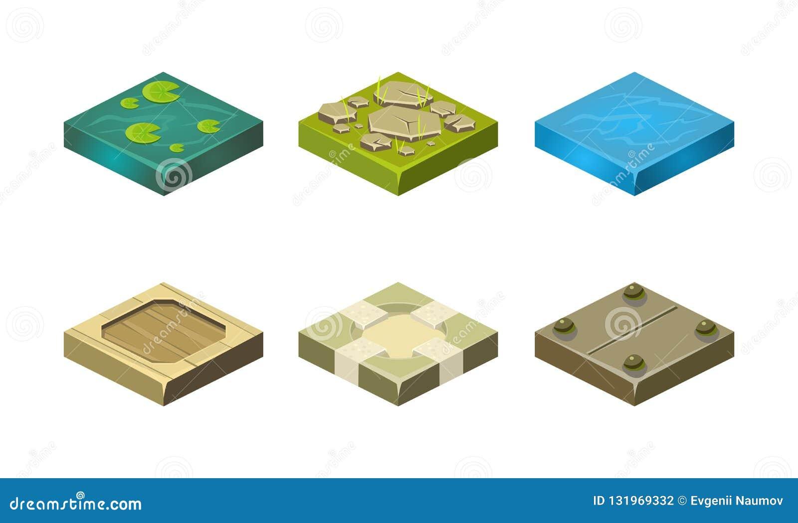 不同的地面纹理集合,流动应用程序或电子游戏传染媒介例证的用户界面财产平台在a