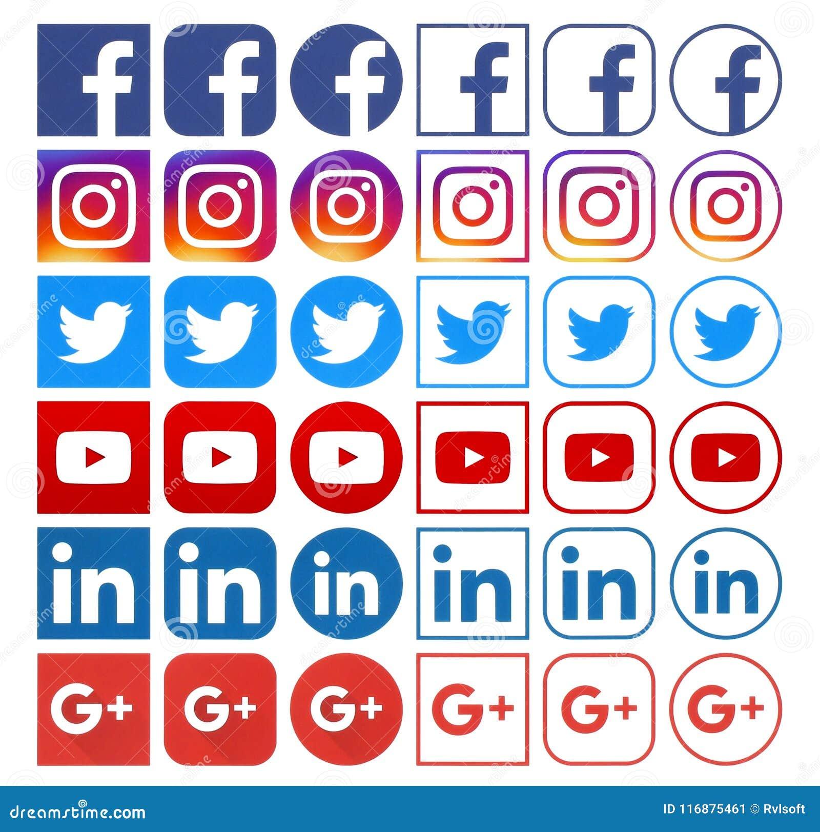 不同的普遍的社会媒介象的汇集