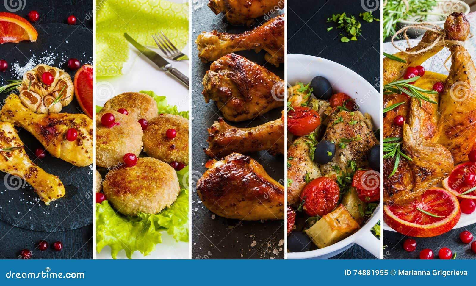 从不同的盘照片的拼贴画与鸡的