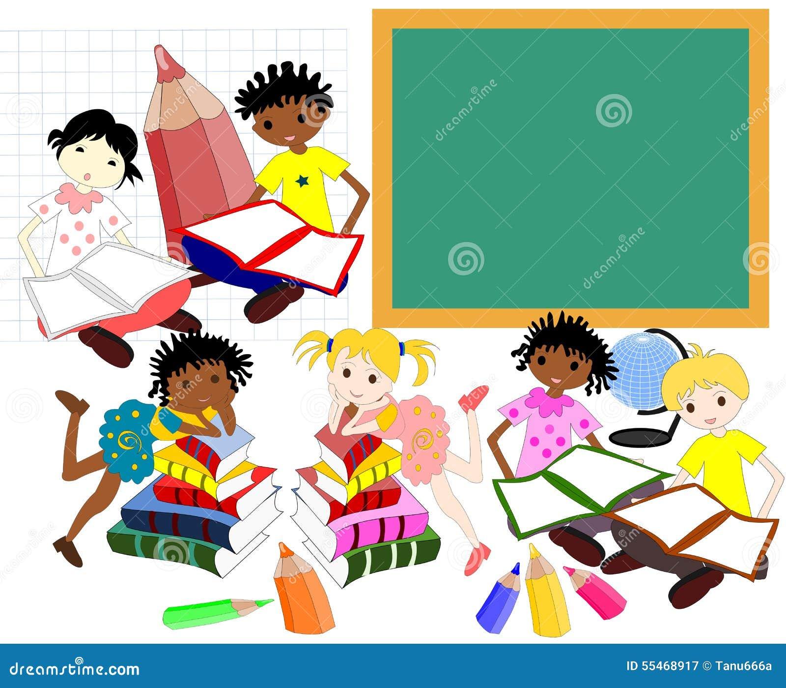 不同的种族的孩子在校务委员会的书的,