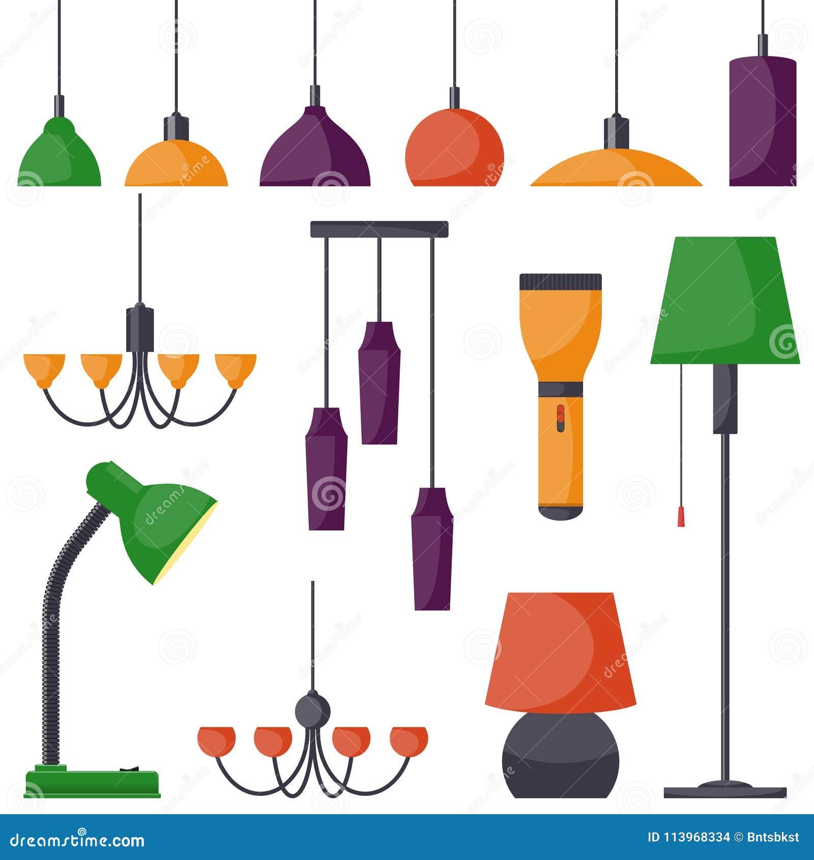 不同的类型,集合灯  枝形吊灯,灯,电灯泡,台灯,手电,落地灯-现代内部的元素 向量