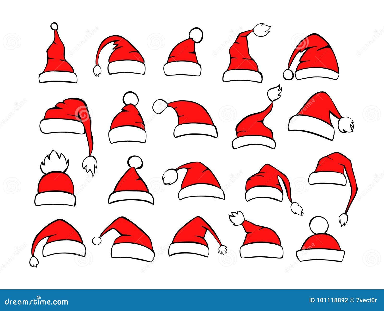 不同的shpes圣诞老人xmas圣诞节帽子的汇集在红色黑白色颜色的