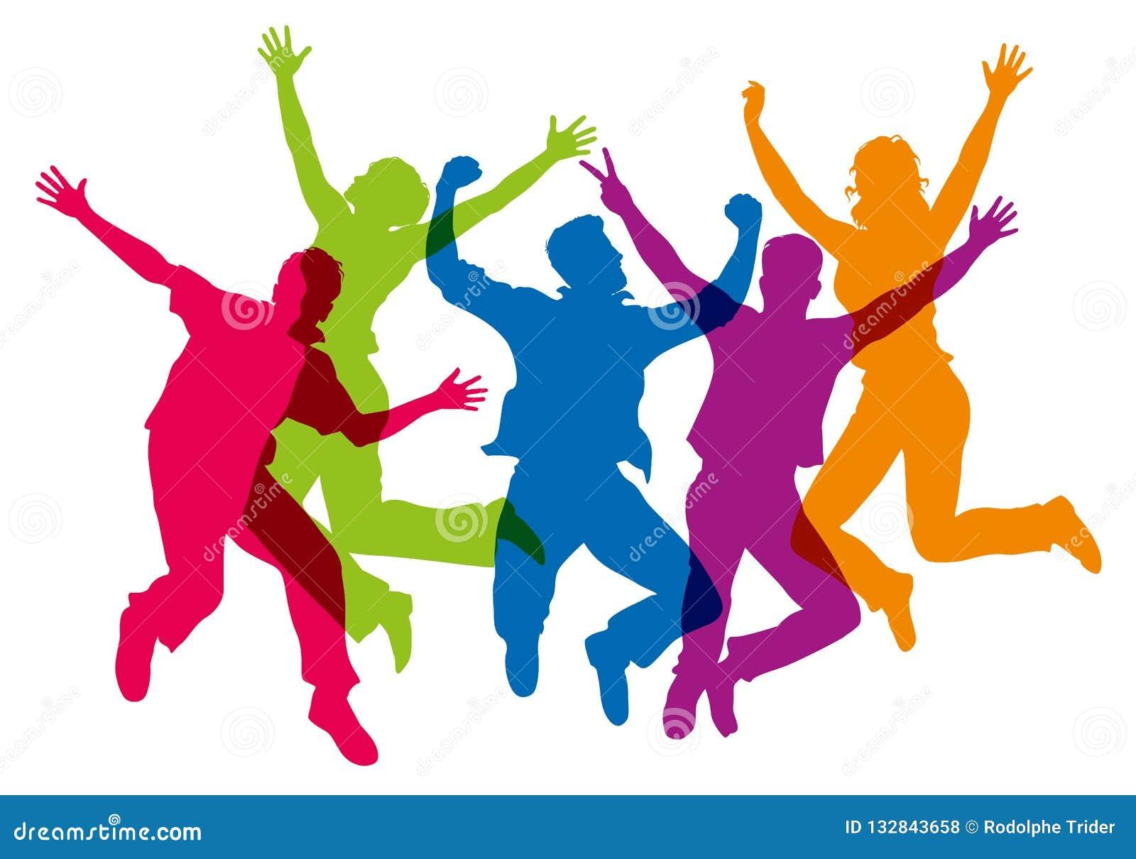 不同颜色剪影,显示跳跃的小组在天空中