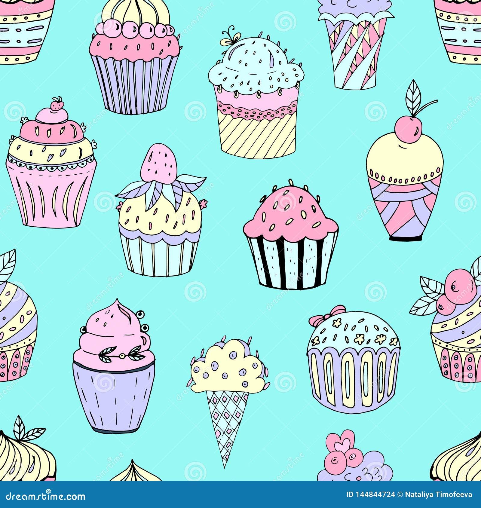 不同颜色和形状蛋糕的一个无缝的样式的传染媒介例证  与装填和细节的杯形蛋糕