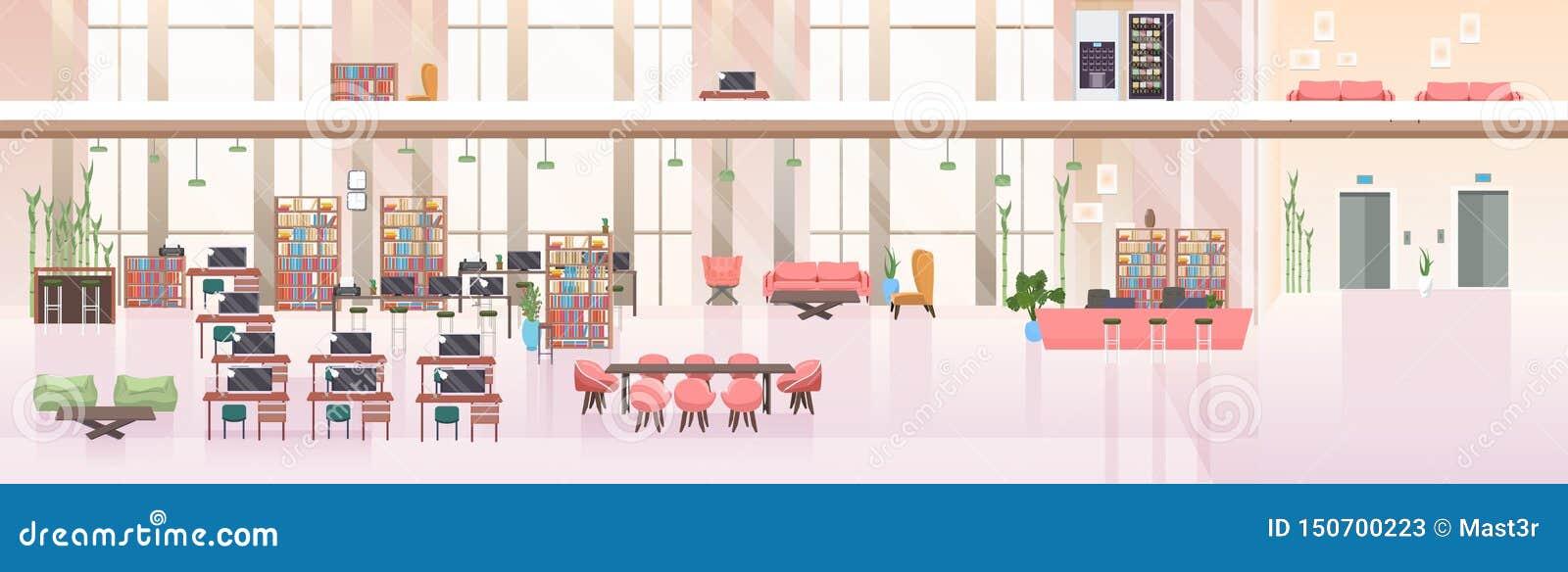 不要倒空人露天场所创造性的共同工作的中心现代工作场所办公室内部平的水平的横幅
