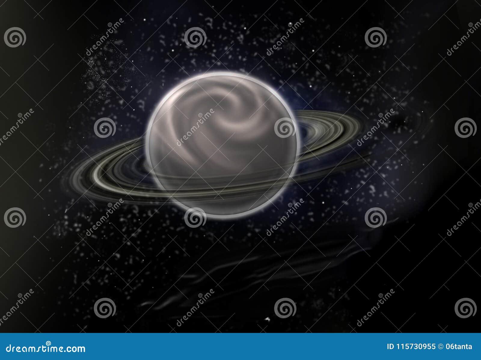 与一个主要行星的黑星背景在中心