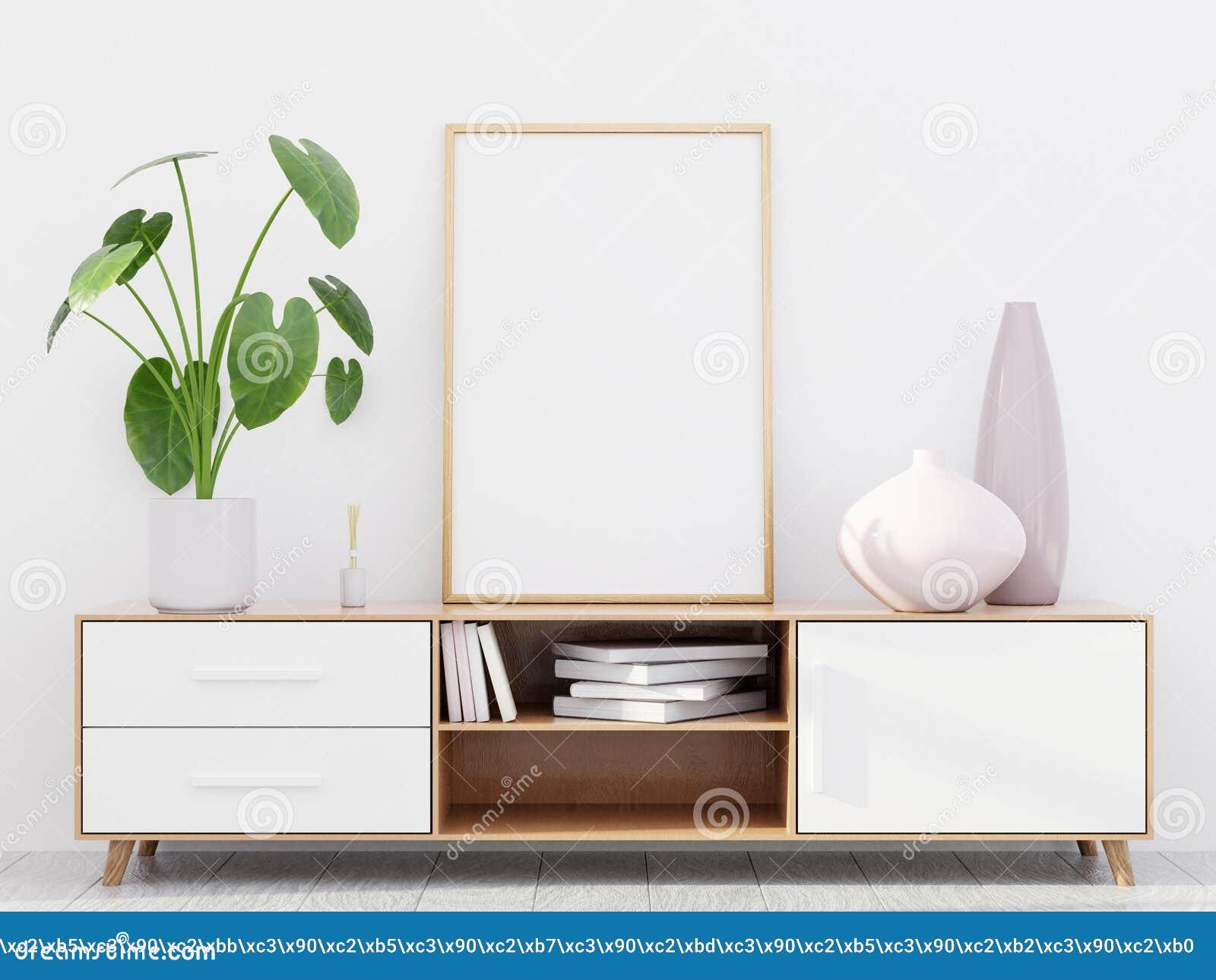 与一个木梳妆台和海报大模型,3D的现代客厅内部回报