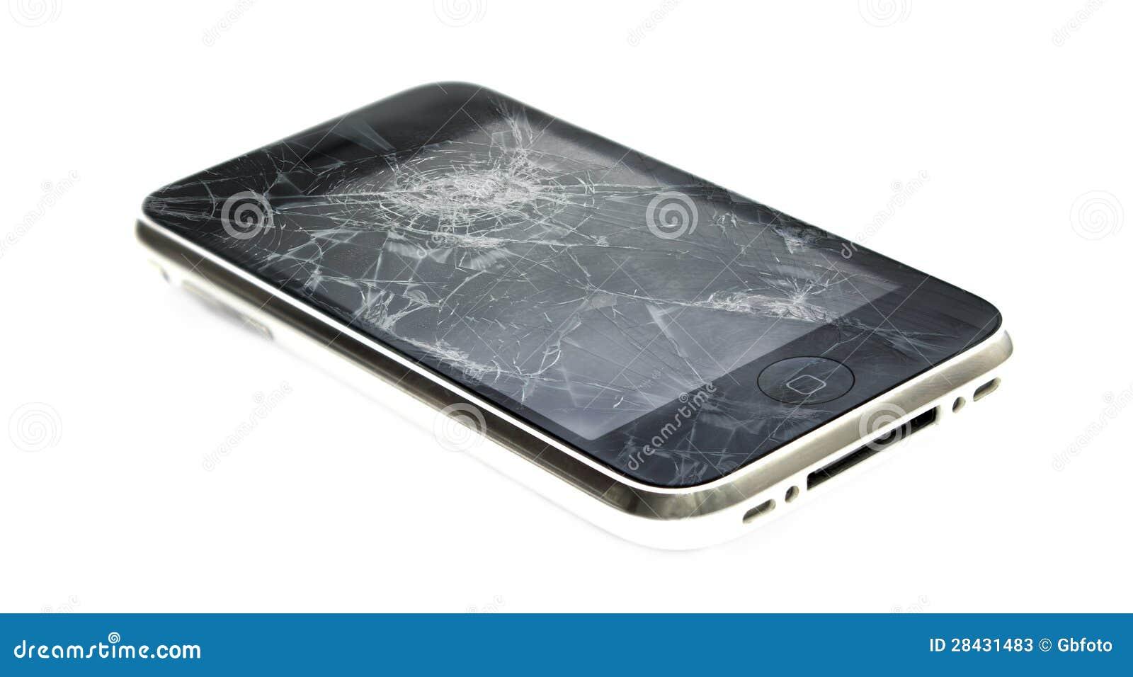 与一个残破的屏幕的Apple iPhone