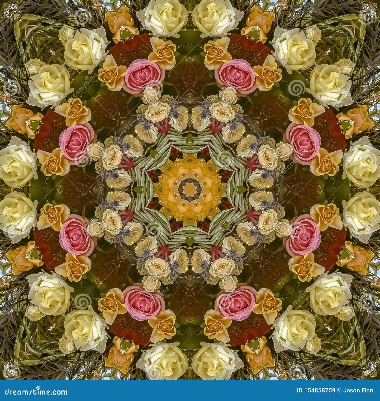 与一个温暖的颜色塑象的正方形圆婚礼花设计