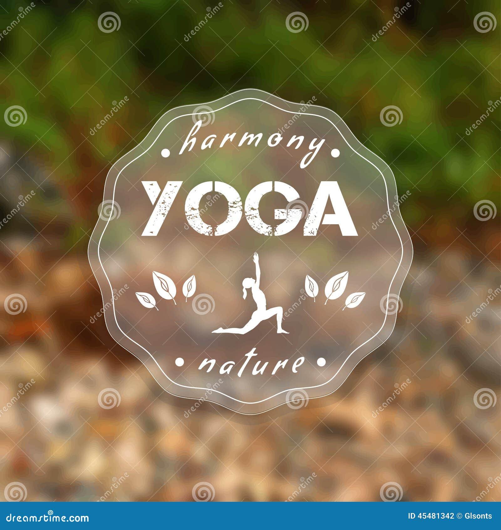与一个自然风景的瑜伽海报 EPS, JPG