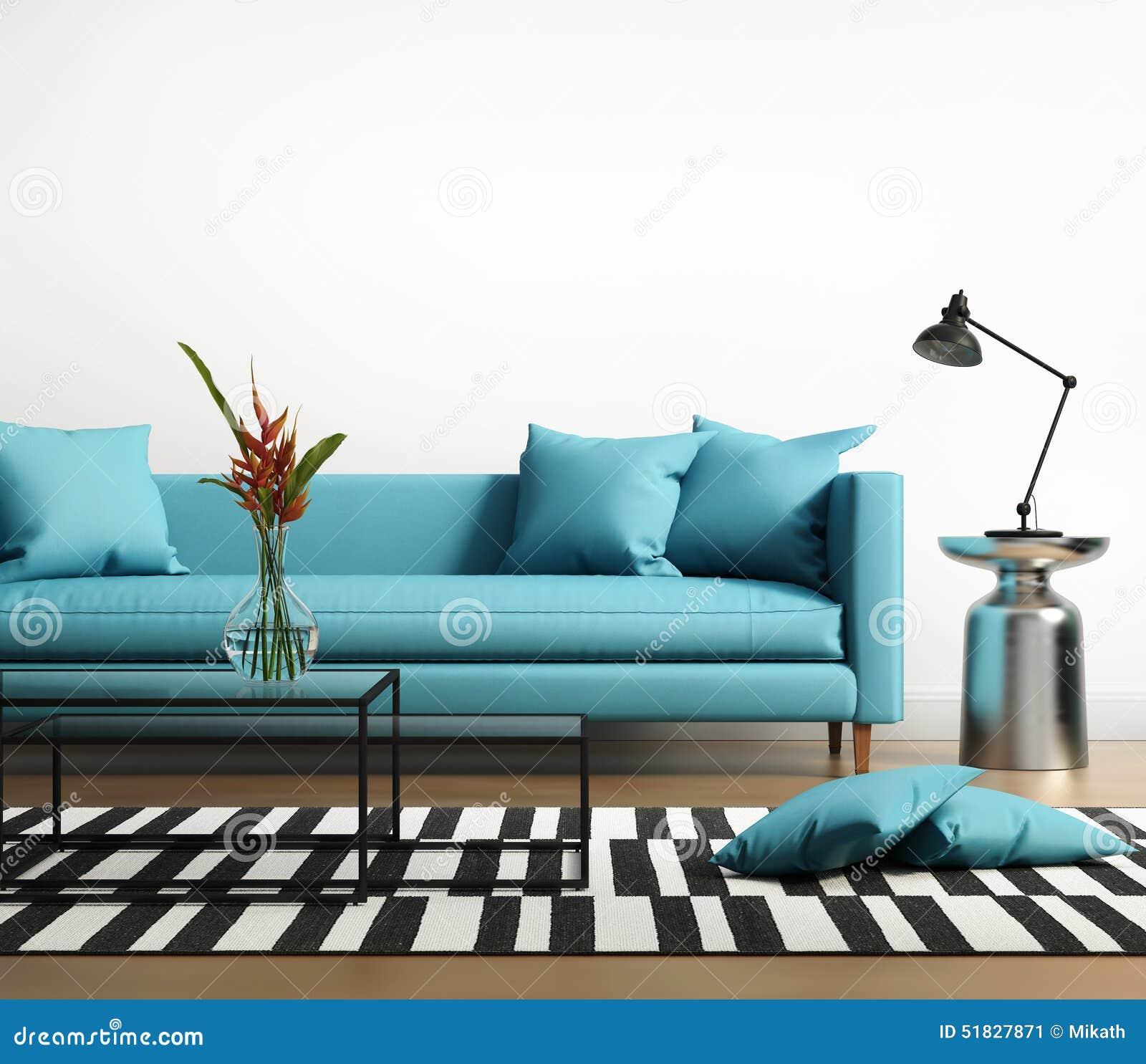 与一个蓝色turqoise沙发的现代内部在客厅