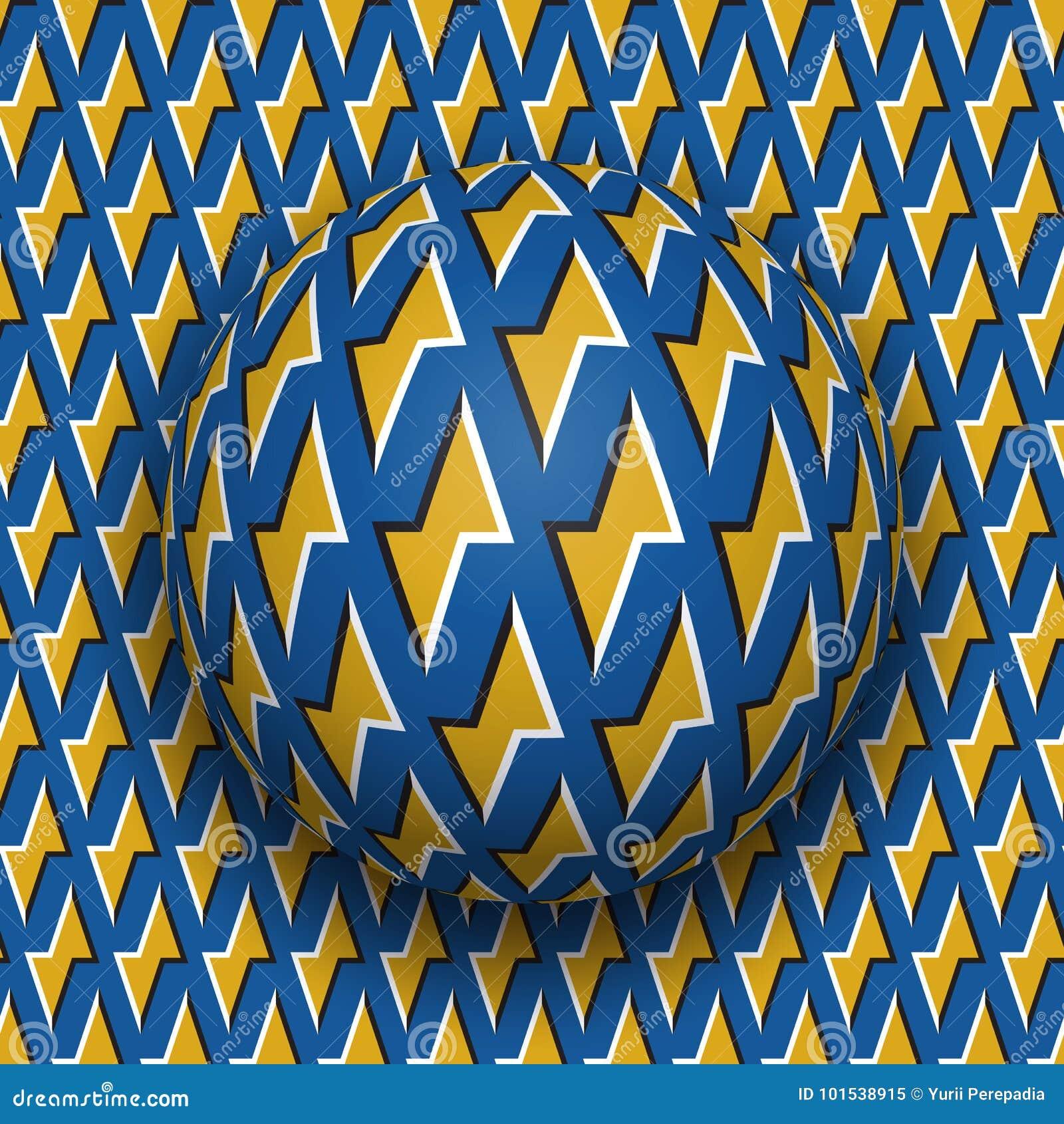 与一个金黄闪电蓝色样式的球沿金黄闪电蓝色表面滚动 抽象传染媒介错觉