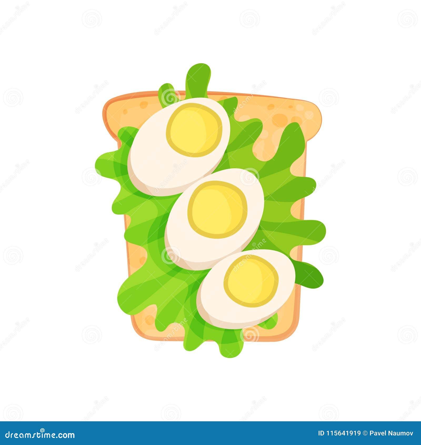与一半的敬酒的面包切片莴苣煮沸的鸡蛋和叶子  早餐题材的鲜美快餐 平的传染媒介