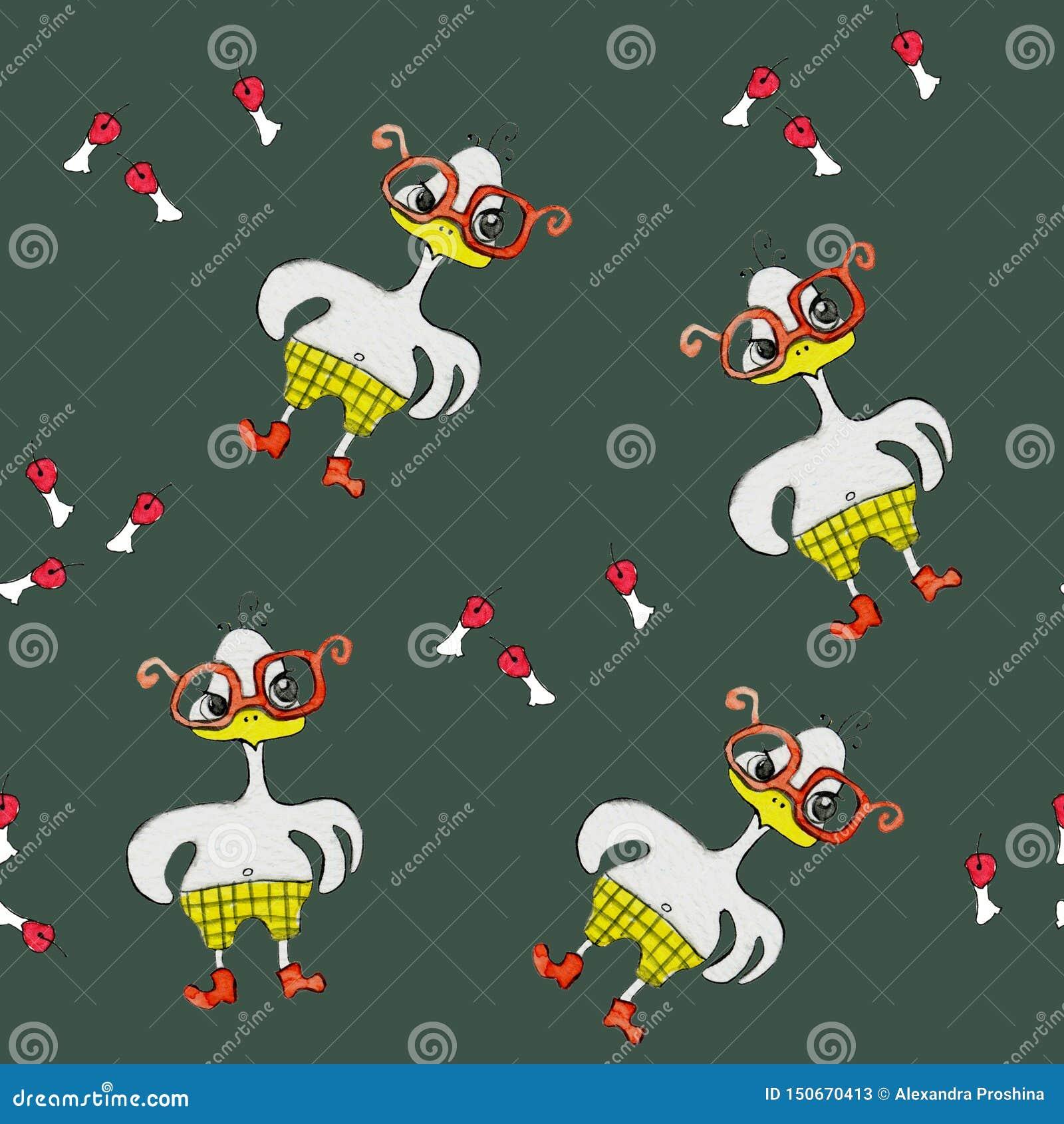 与一只卡通效果白色鸡的无缝的样式在红色玻璃,聪明和恼怒 绘在水彩