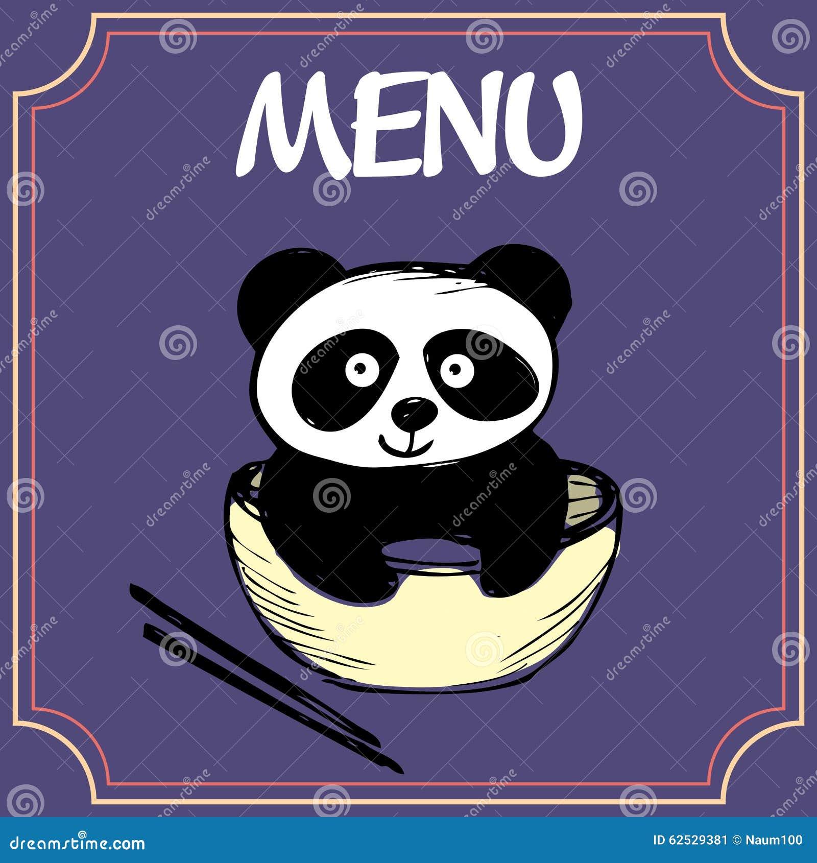 与一块板材的熊猫有筷子、菜单或者横幅的
