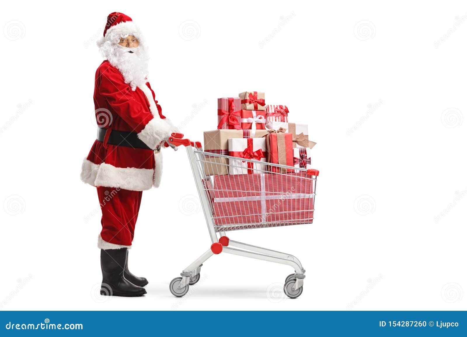 与一手推车的圣诞老人项目有礼物的