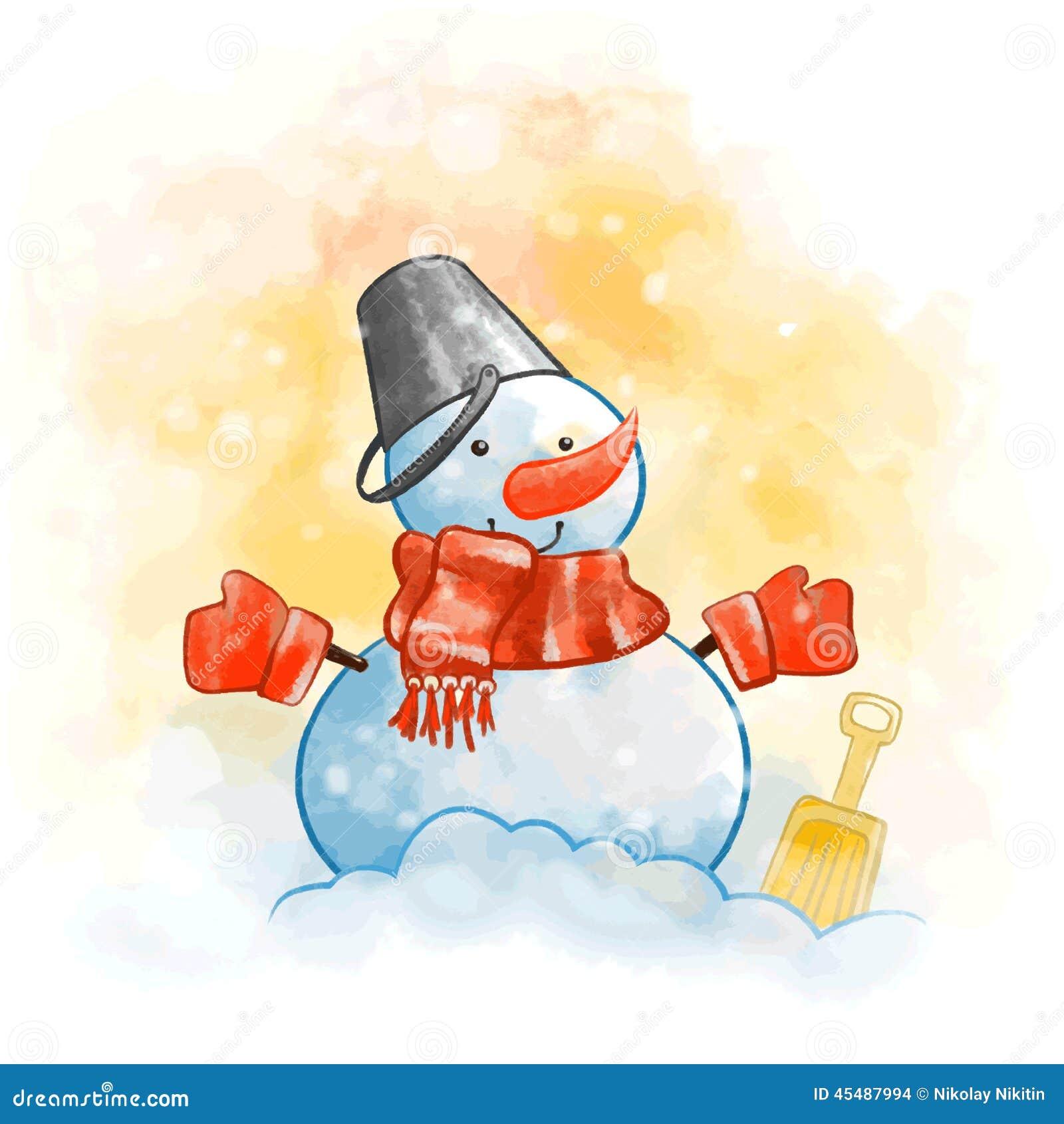 与一条红色围巾的雪人