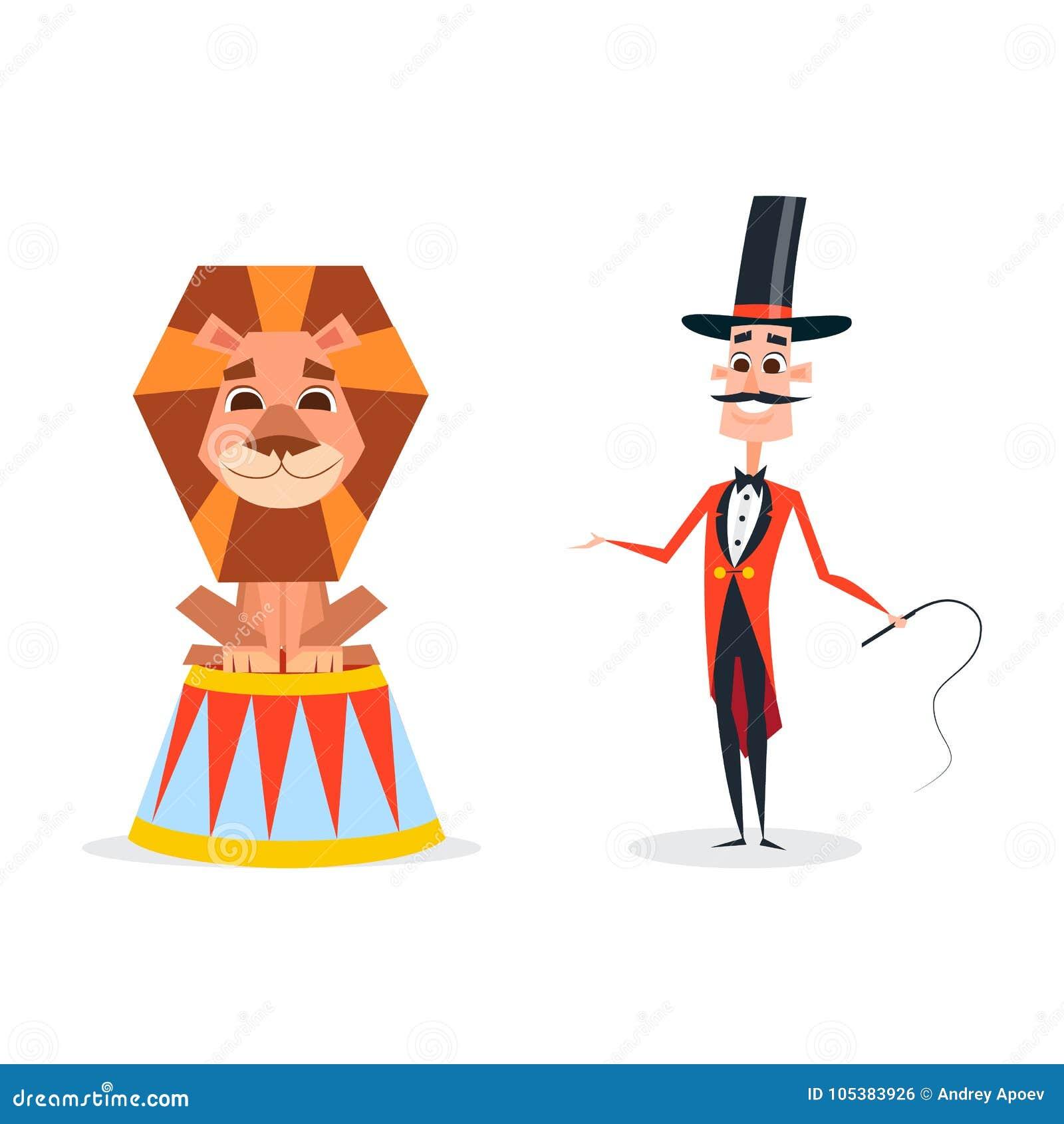 与一条鞭子的马戏教练员在一套红色衣服 动物更加温驯的立场在一头微笑的狮子旁边