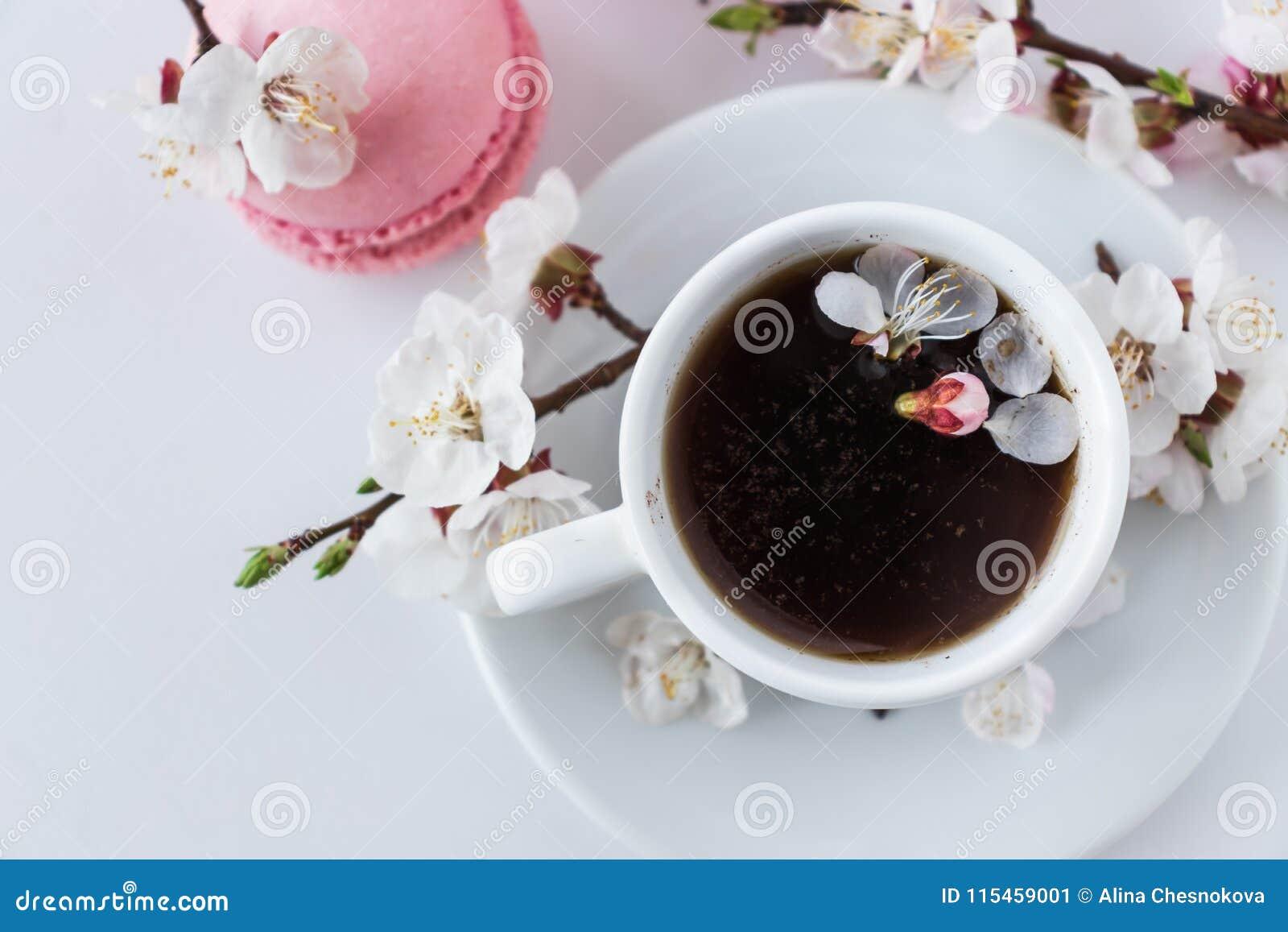 与一杯咖啡的桃红色蛋白杏仁饼干和白花分支