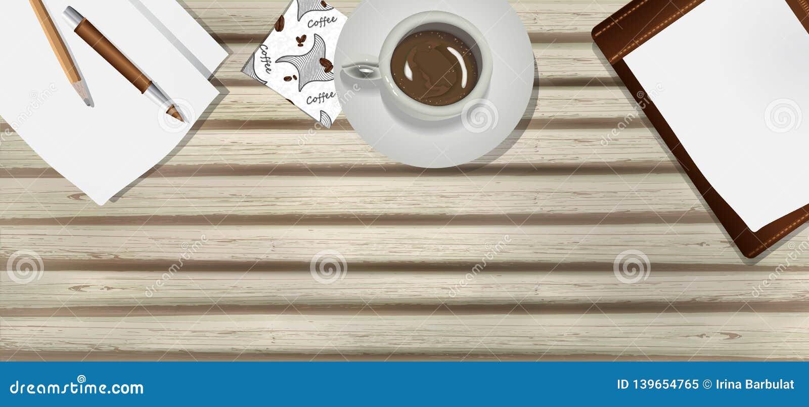与一杯咖啡的老,木桌,纸、笔和铅笔在现实主义样式 企业工作场所,导航设计的背景