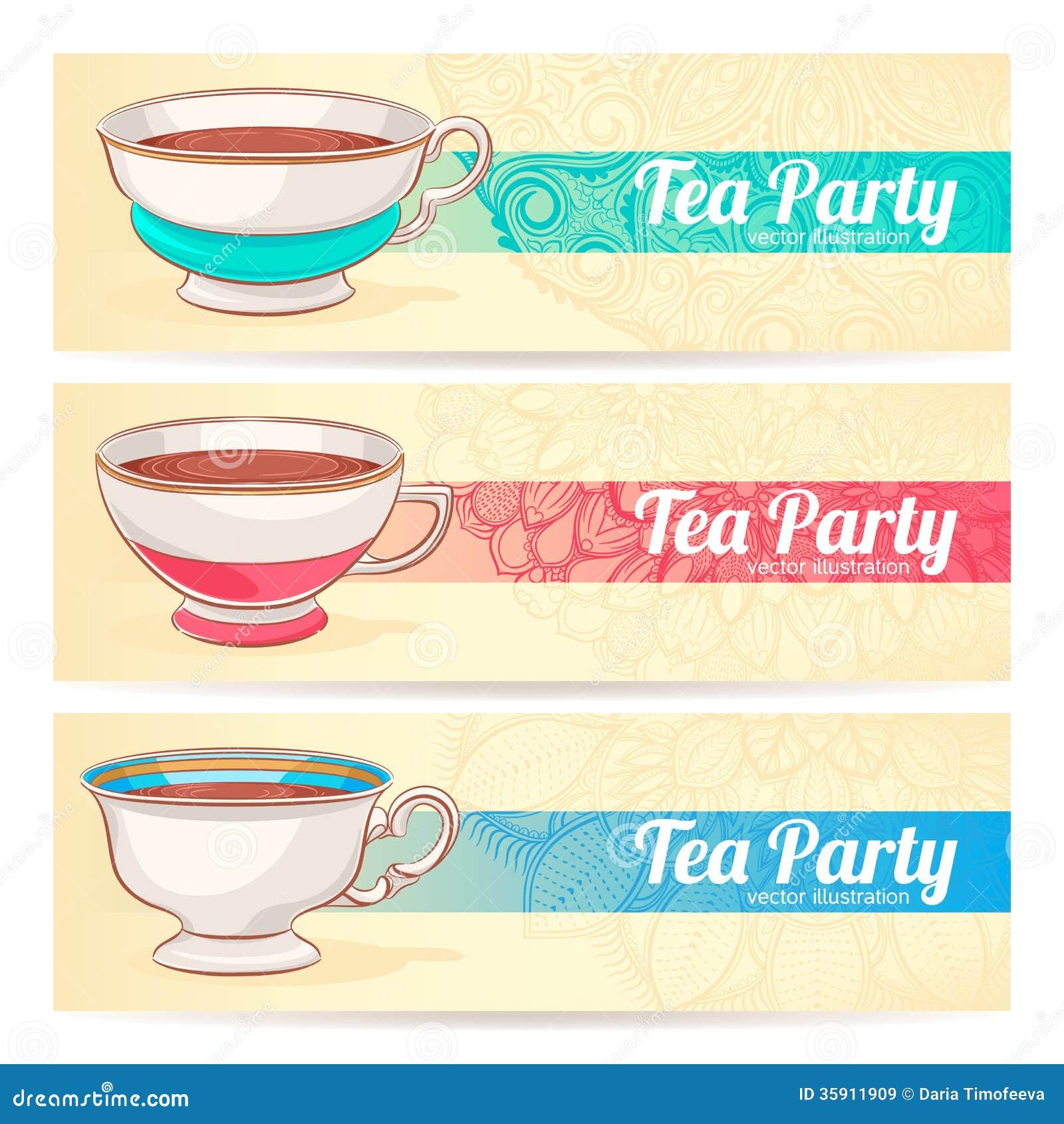与一杯茶的三副横幅